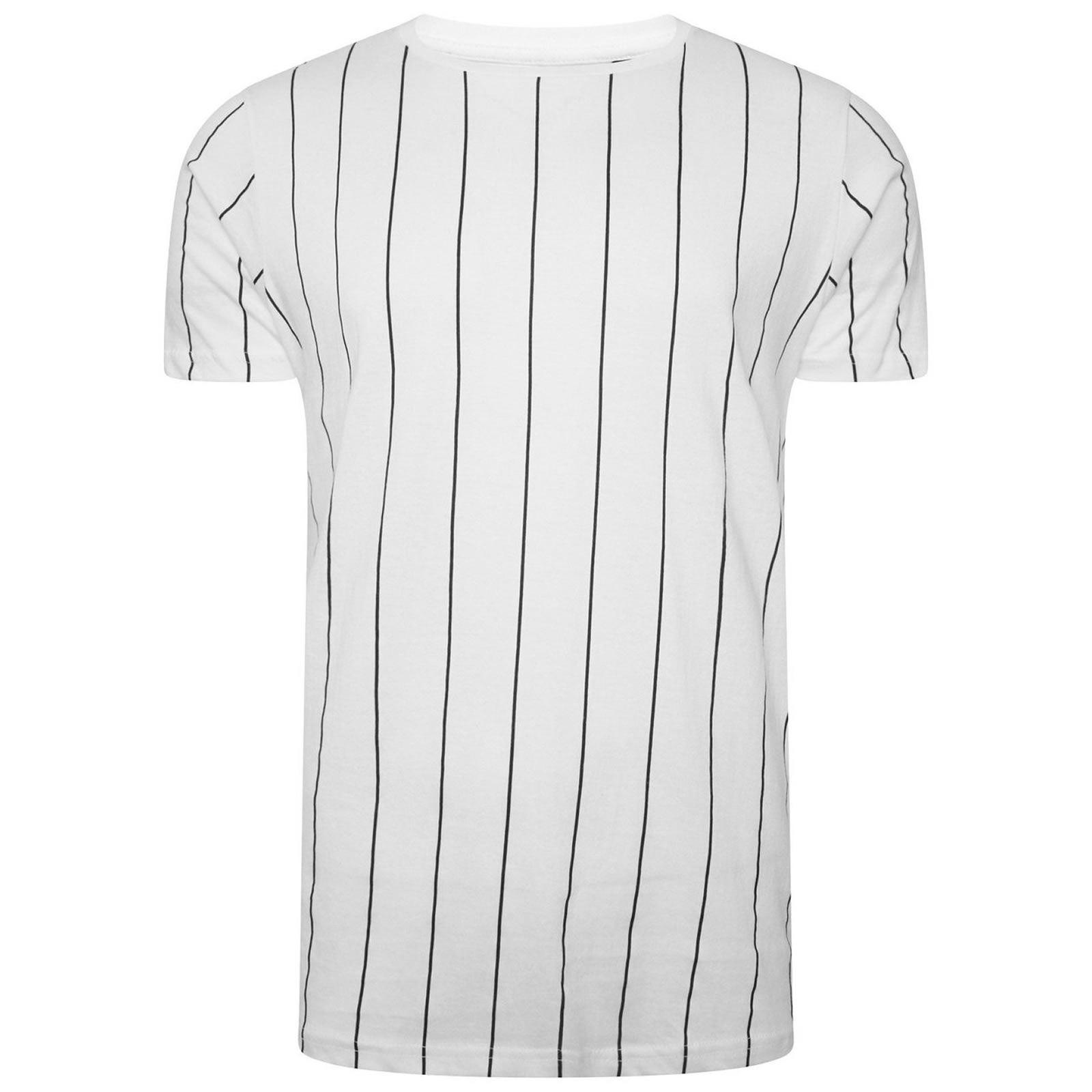 Hommes-T-Shirt-Brave-Soul-Stobart-a-encolure-ras-du-cou-a-manches-courtes-a-rayures-verticales-Tee miniature 4