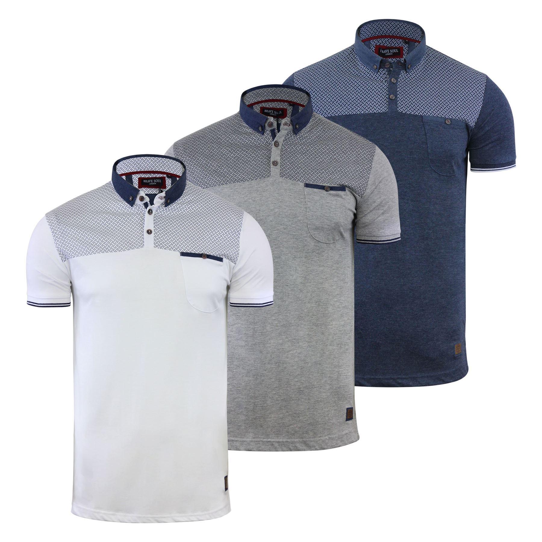 Mens Polo T Shirt Brave Soul Aqua Printed Short Sleeve Chambray Collar Top