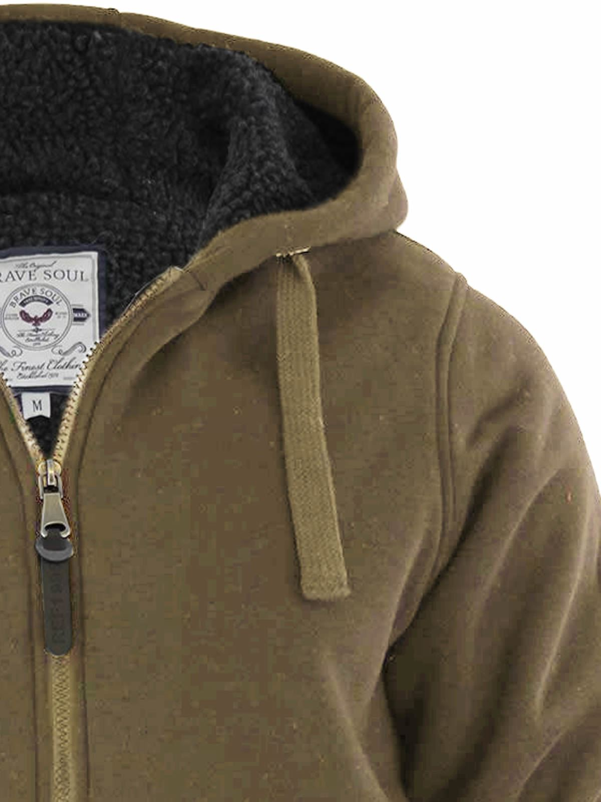 Mens-Hoodie-Brave-Soul-Zone-Sherpa-Fleece-Lined-Zip-Up-Hooded-Sweater thumbnail 16