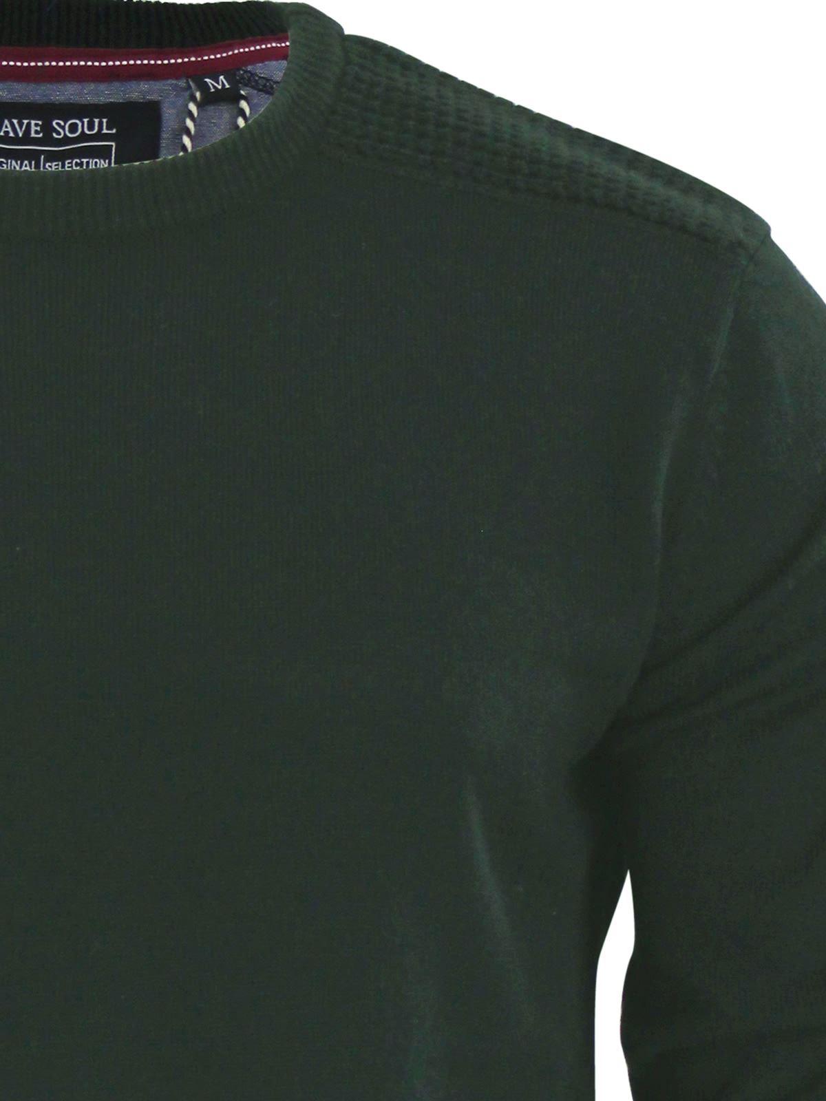Brave-Soul-Luna-Mens-Jumper-Crew-Neck-Sweater-With-Shoulder-Detailing miniature 13