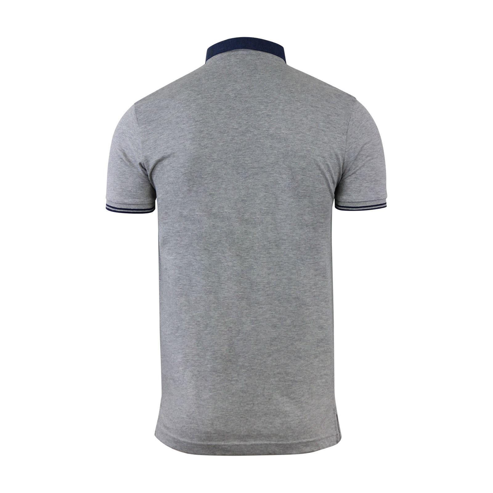 Mens-Polo-T-Shirt-Brave-Soul-Aqua-Printed-Short-Sleeve-Chambray-Collar-Top thumbnail 6