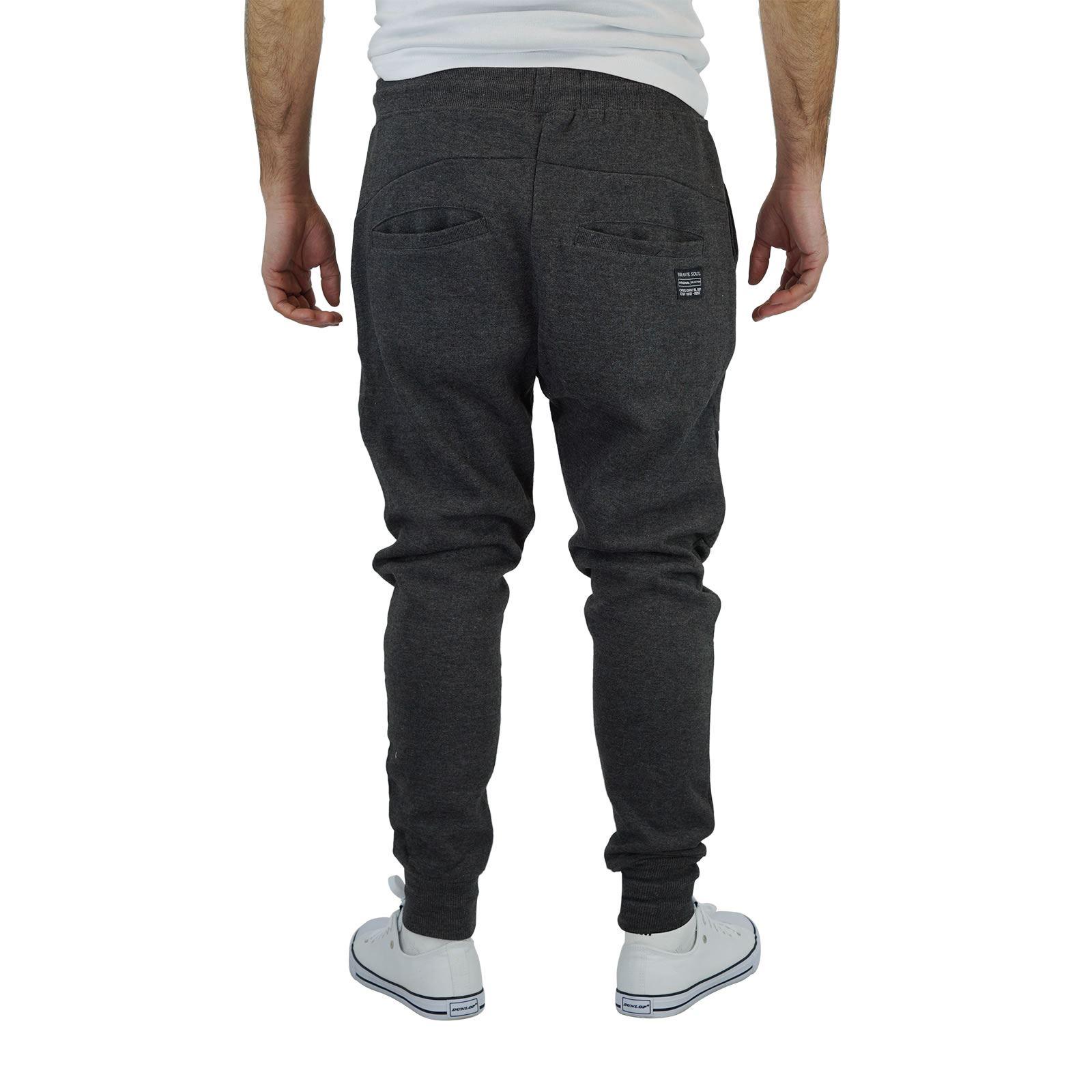 miniature 4 - Homme-Pantalon-De-Survetement-Brave-Soul-Sean-Slim-Motard-Panneau-Detail-Decontracte-Pantalon