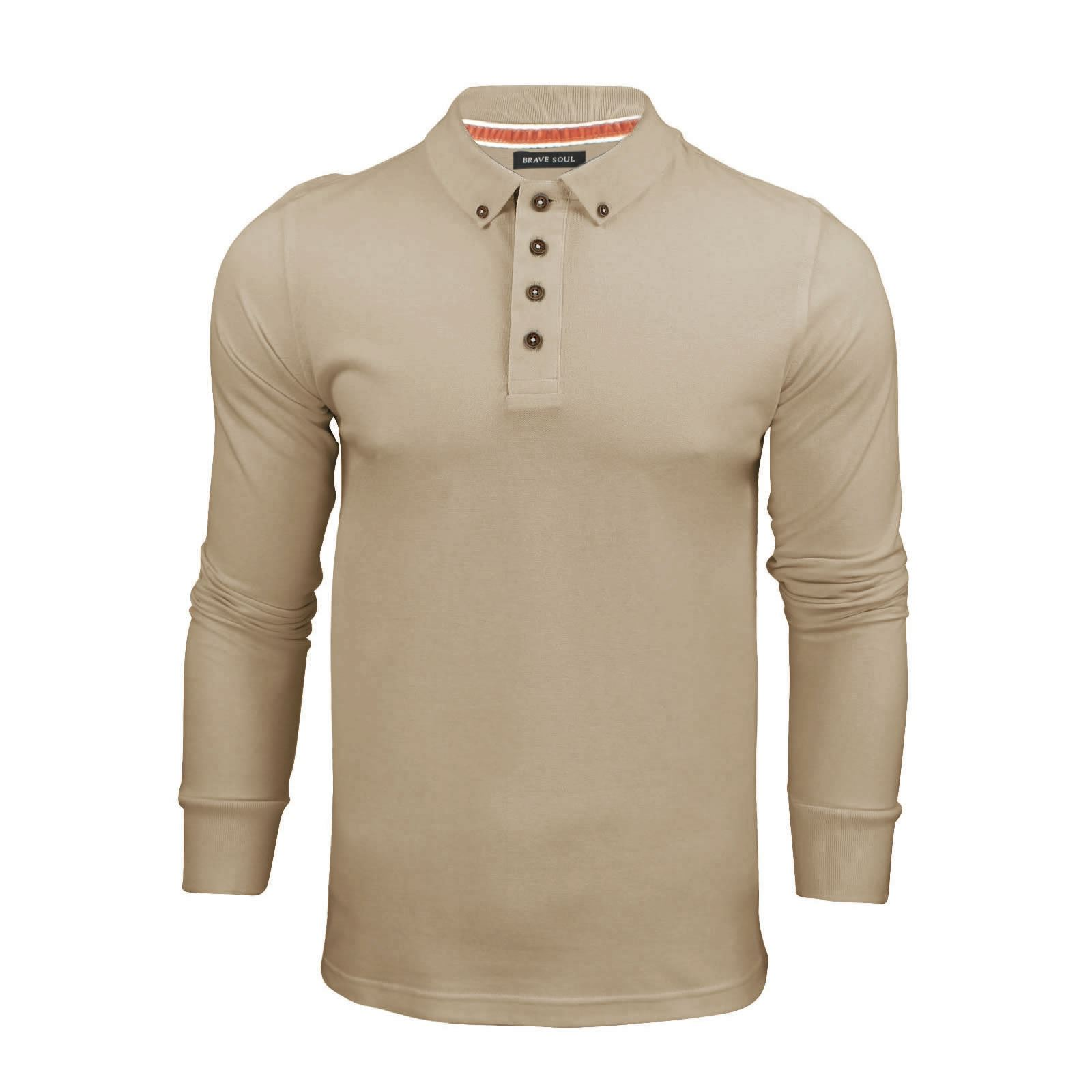 Brave-Soul-Lincoln-Mens-Polo-T-Shirt-Long-Sleeve-Cotton-Pique-Casual-Top thumbnail 28