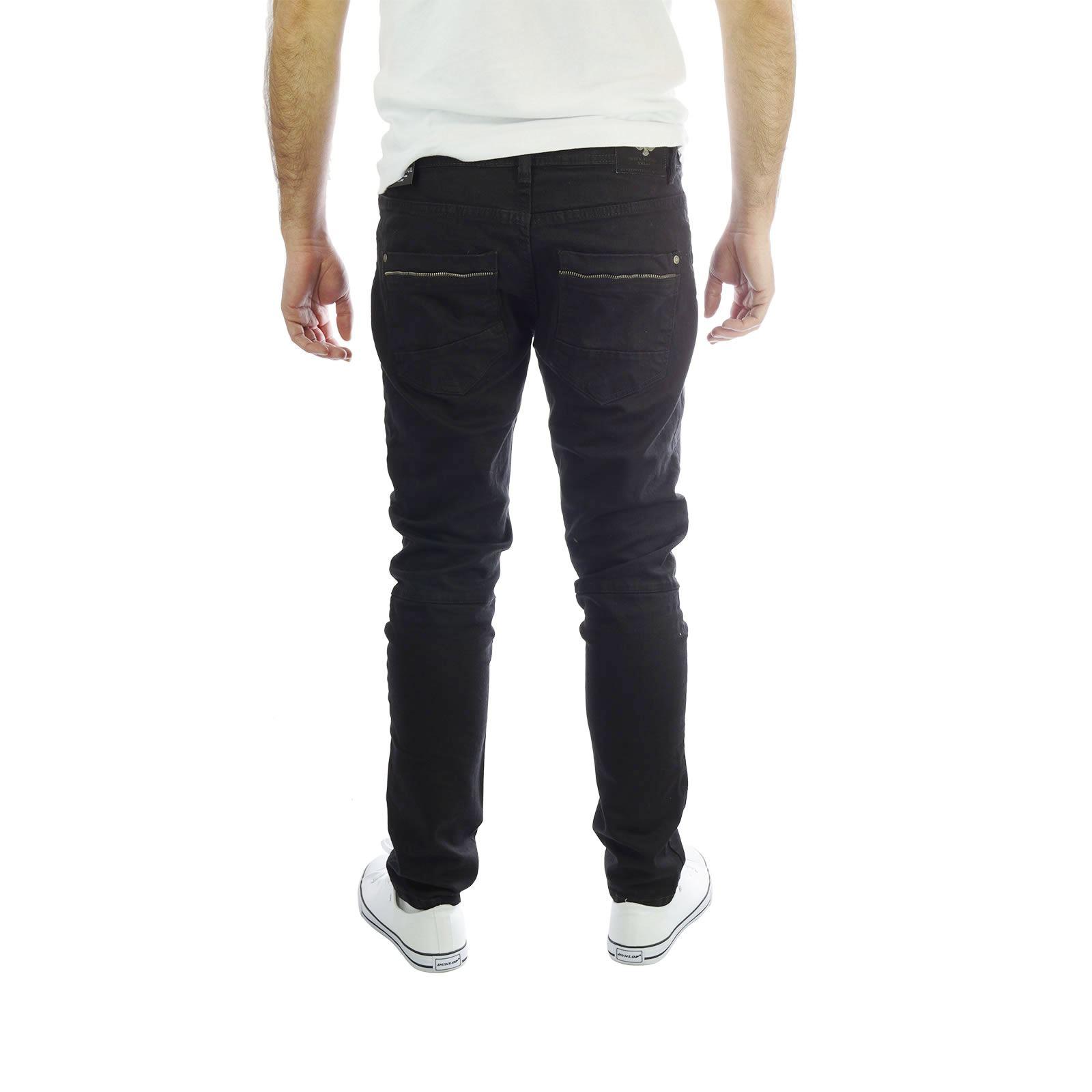 Alma Valiente Giratorio Para Hombres Jeans Estrechos Elastizados Negro Estilo Motero Pantalones De Mezclilla Ebay