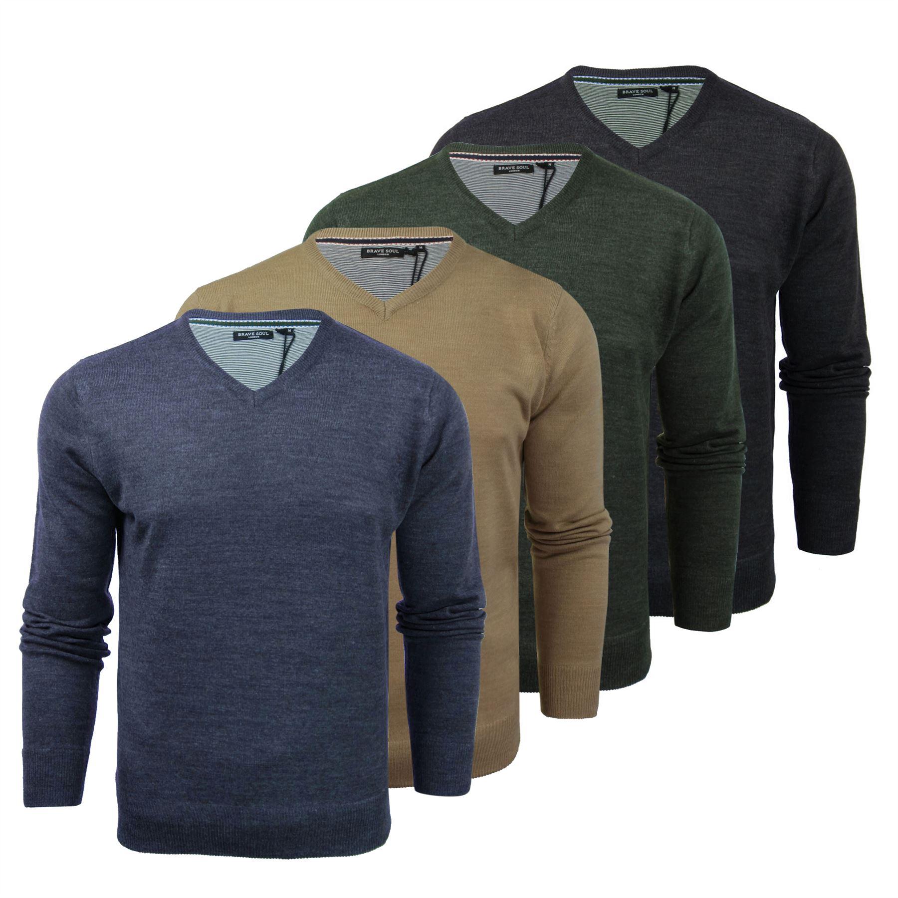 7b3a2e5691f86 Brave Soul Quazar Mens Jumper Knitted V Neck Sweater