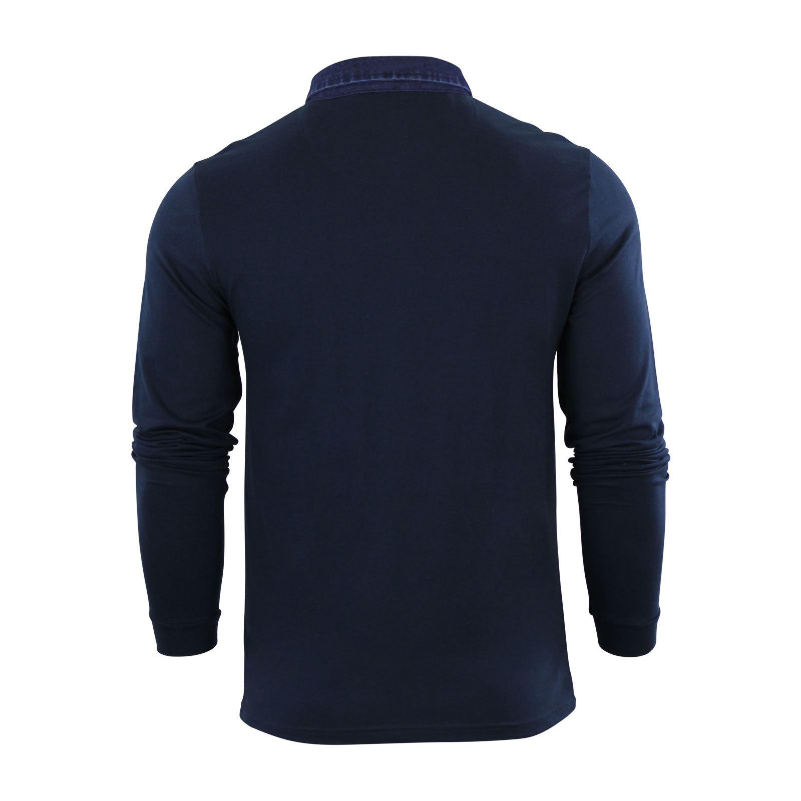 Brave-Soul-Gospel-Homme-Polo-T-Shirt-Denim-a-col-a-manches-longues-Top-Casual miniature 3