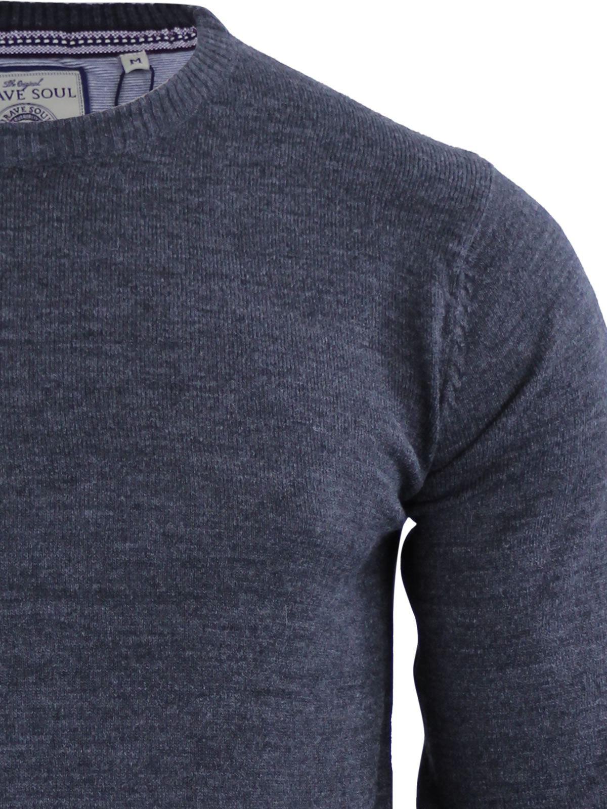 Brave-Soul-Urbain-Mens-Jumper-Knitted-Crew-Neck-Sweater thumbnail 41