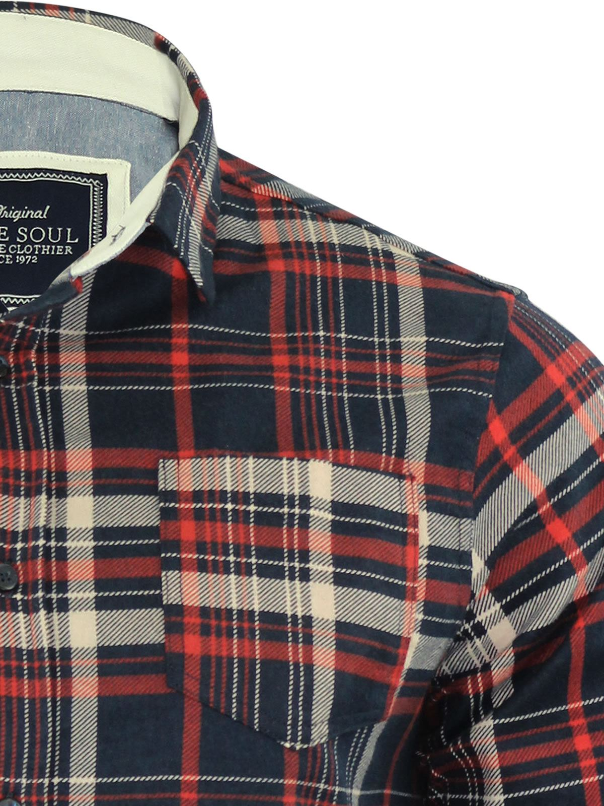 Mens-Check-Shirt-Brave-Soul-Flannel-Brushed-Cotton-Long-Sleeve-Casual-Top thumbnail 37