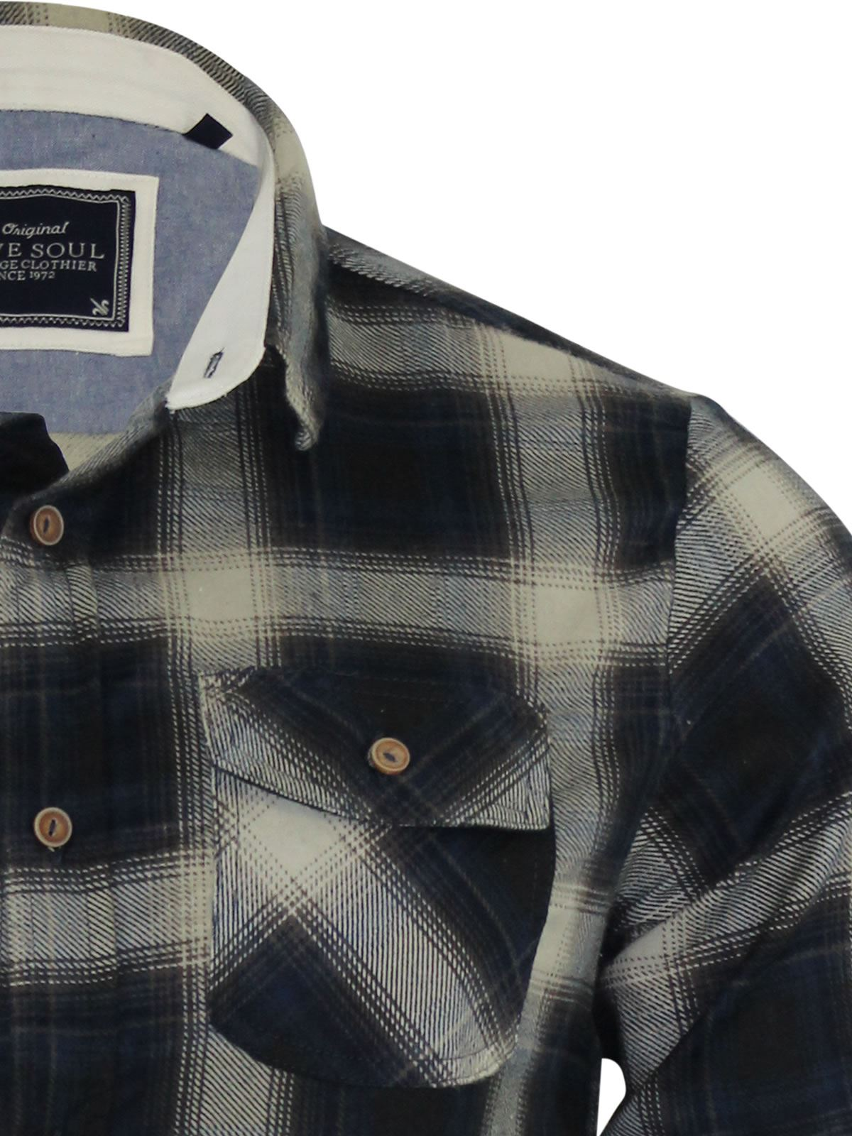 Mens-Check-Shirt-Brave-Soul-Flannel-Brushed-Cotton-Long-Sleeve-Casual-Top thumbnail 16