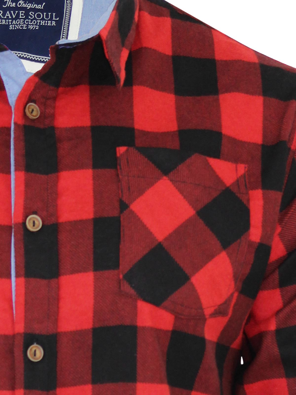Mens-Check-Shirt-Brave-Soul-Flannel-Brushed-Cotton-Long-Sleeve-Casual-Top thumbnail 22