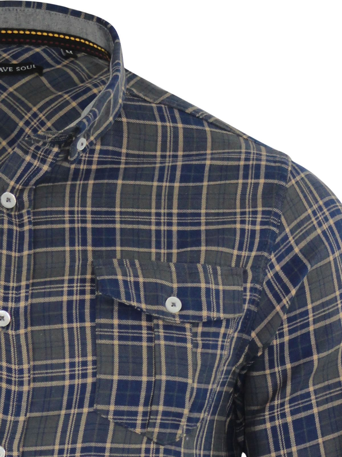 Mens-Check-Shirt-Brave-Soul-Flannel-Brushed-Cotton-Long-Sleeve-Casual-Top thumbnail 64