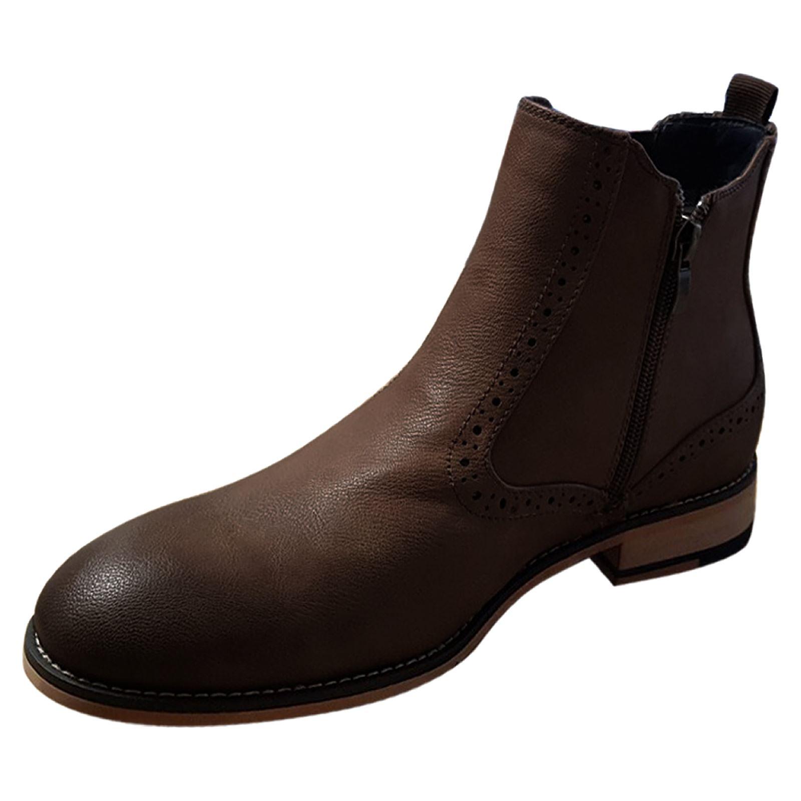miniature 5 - Homme-Bottines-Chelsea-CAVANI-Fox-Aspect-Cuir-Slip-On-Classic-Mod-Chaussures