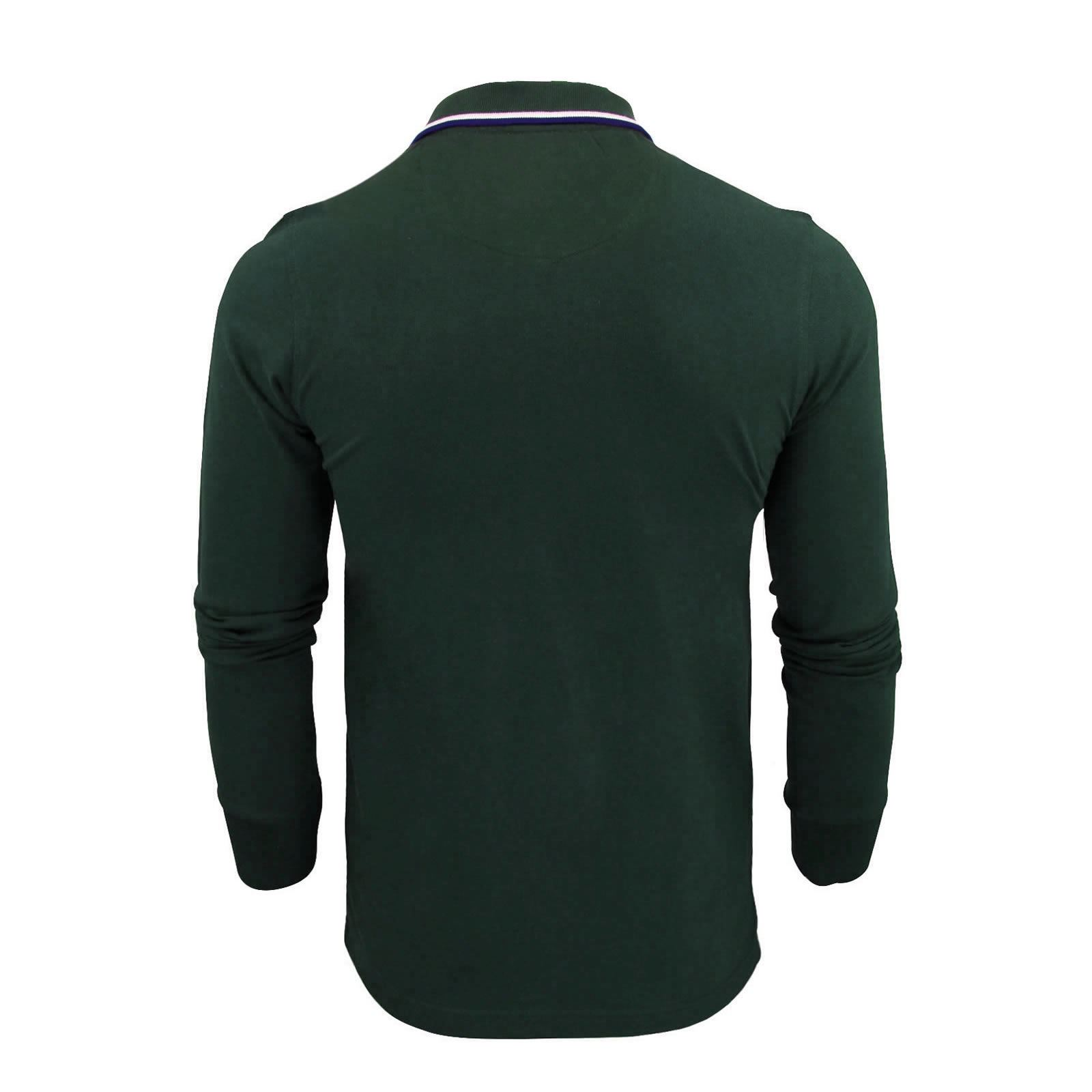 Brave-Soul-Lincoln-Mens-Polo-T-Shirt-Long-Sleeve-Cotton-Pique-Casual-Top thumbnail 10