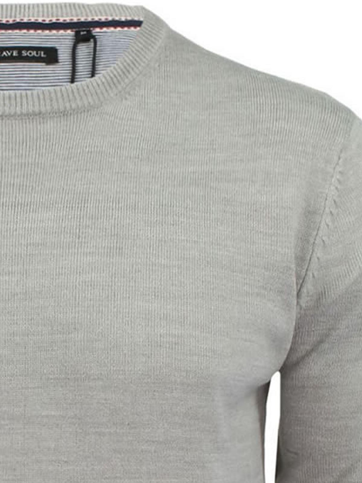 Brave-Soul-Urbain-Mens-Jumper-Knitted-Crew-Neck-Sweater thumbnail 12