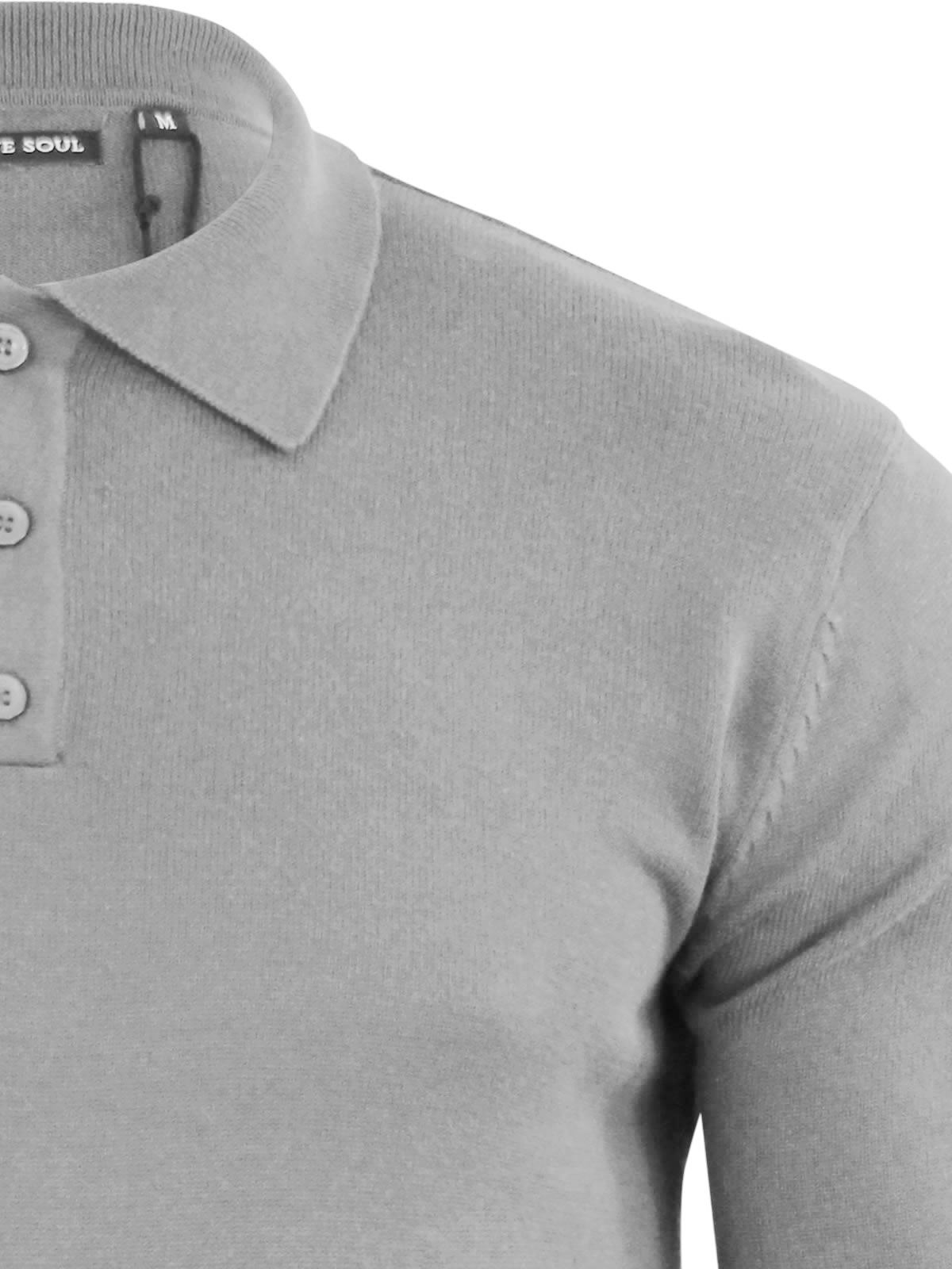 Mens-Knitted-Polo-T-Shirt-Brave-Soul-Placket-Collared-Jumper thumbnail 25