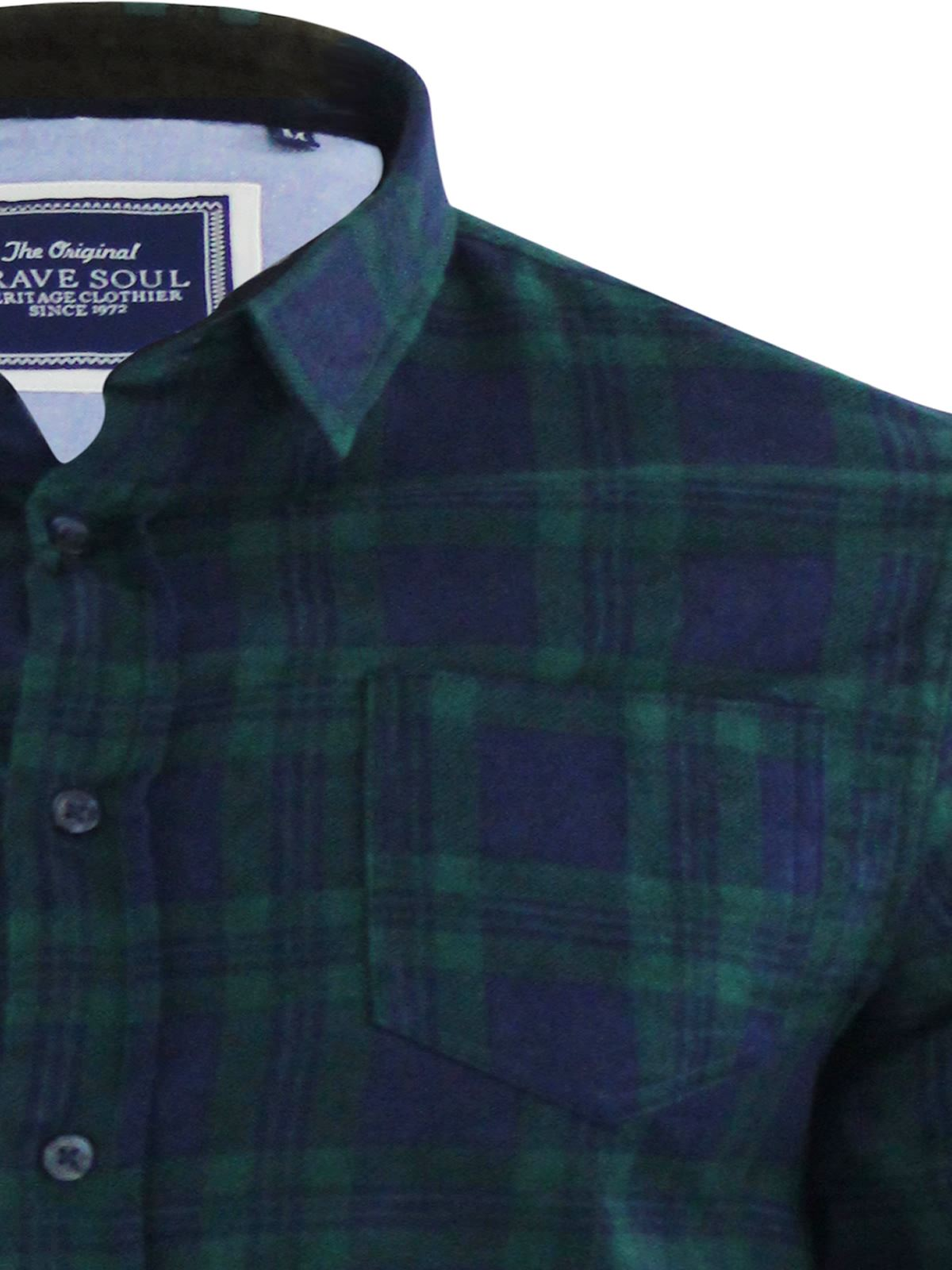 Mens-Check-Shirt-Brave-Soul-Flannel-Brushed-Cotton-Long-Sleeve-Casual-Top thumbnail 76