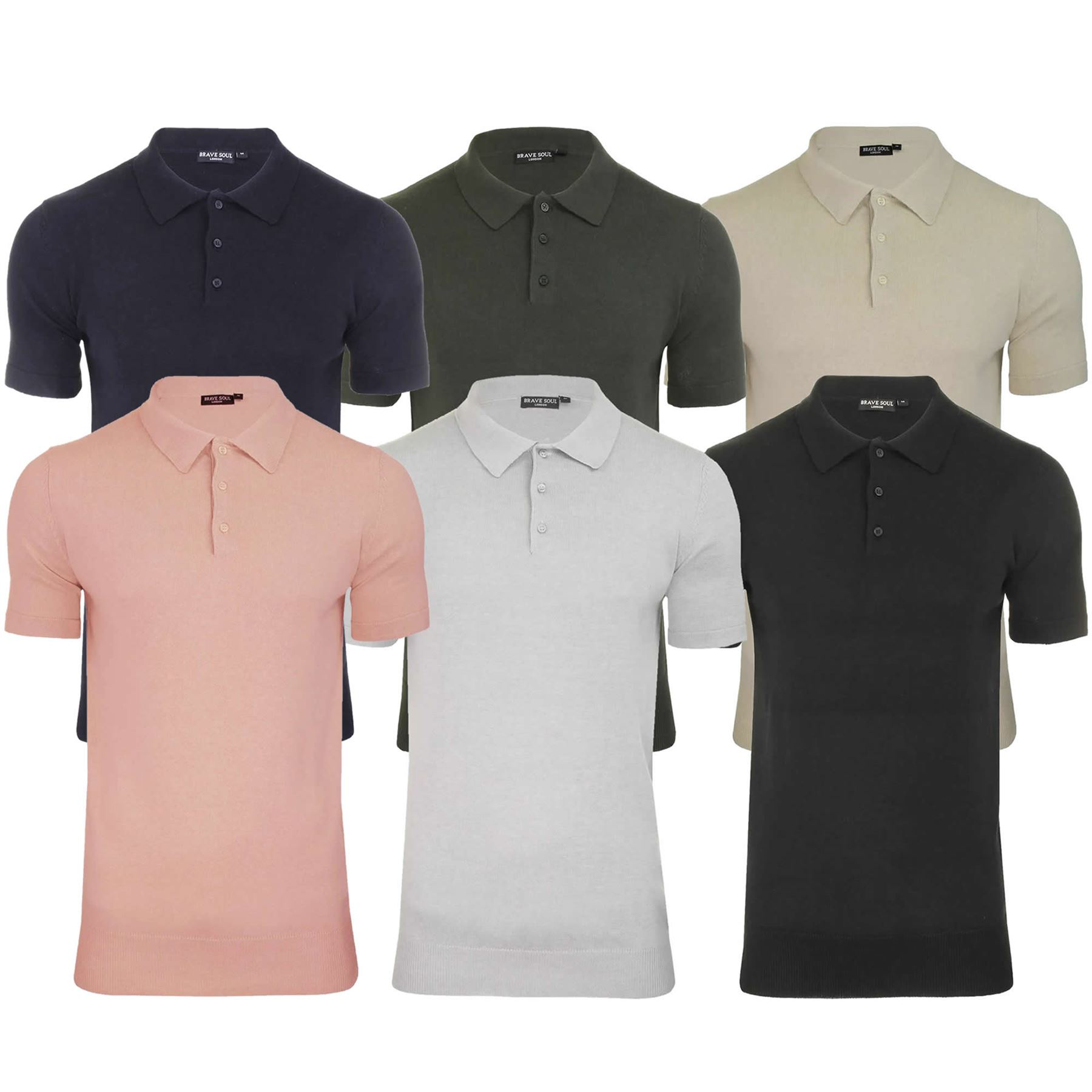 meet huge inventory exclusive range Mens Knitted Polo Brave Soul Columbus Collared Short Sleeve Jumper ...