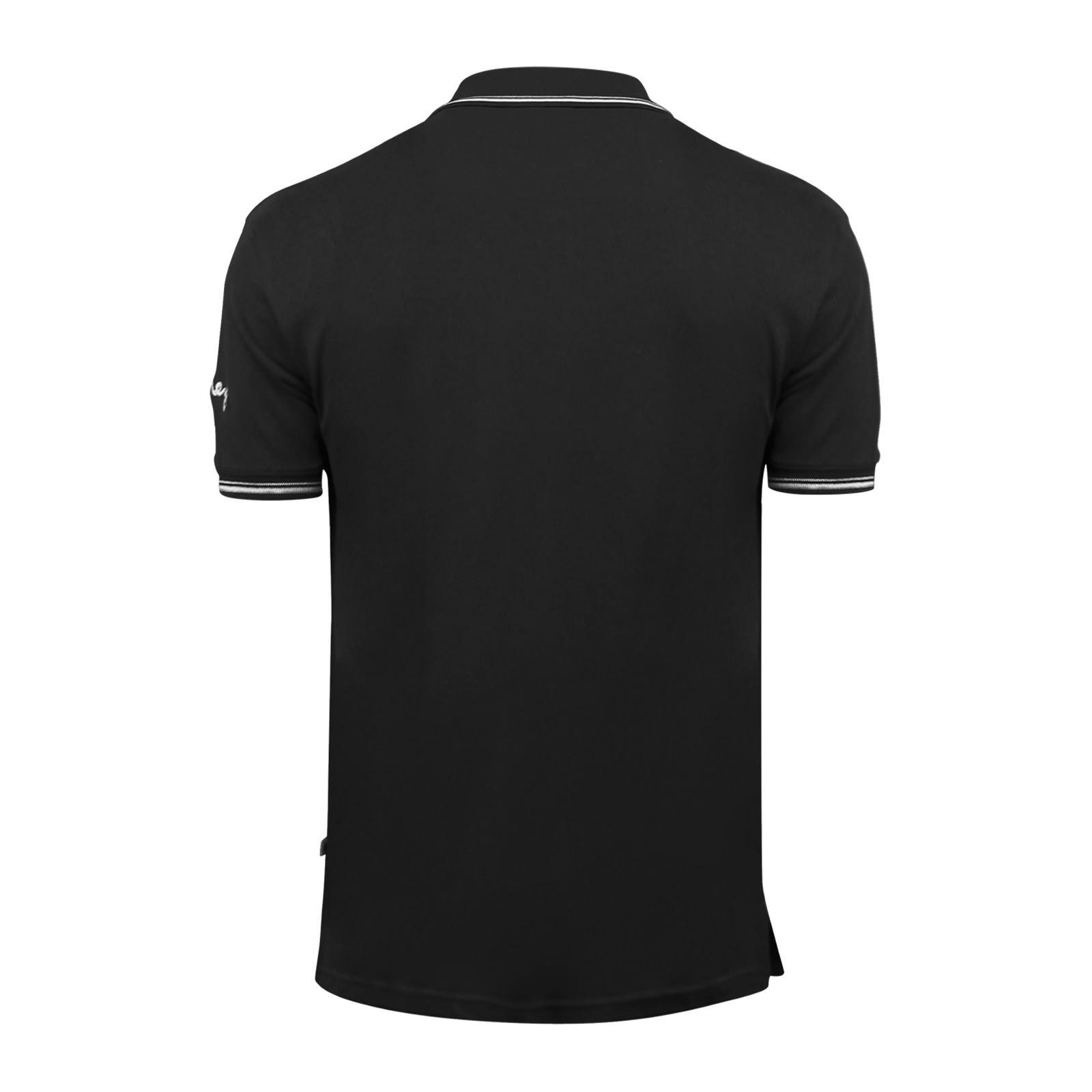 Argent-Comp-pour-Homme-Polo-Shirt-a-Manches-Courtes-en-Coton-Col-Haut-Decontracte miniature 5