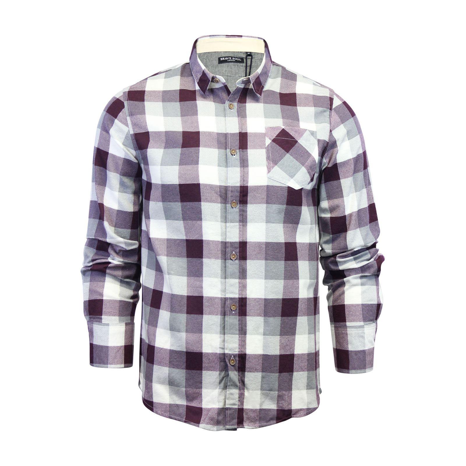 Alma-VALIENTE-HOMBRE-compruebe-Camisa-Algodon-Cepillado-De-Franela-Top-Manga-Larga-Casual miniatura 64