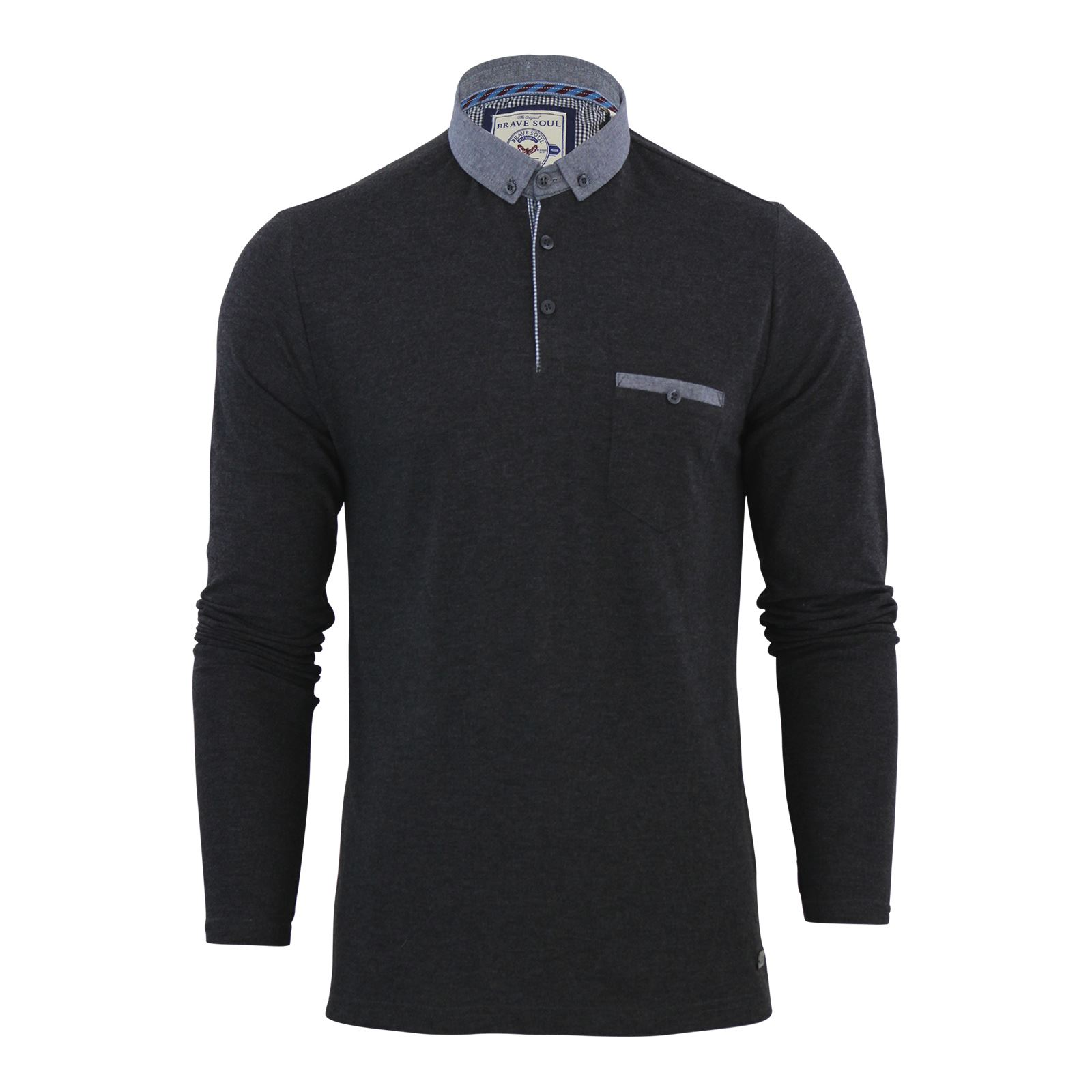 Brave-Soul-Mens-Polo-Shirt-Long-Sleeve-Collared-Top-In-Various-Styles thumbnail 72
