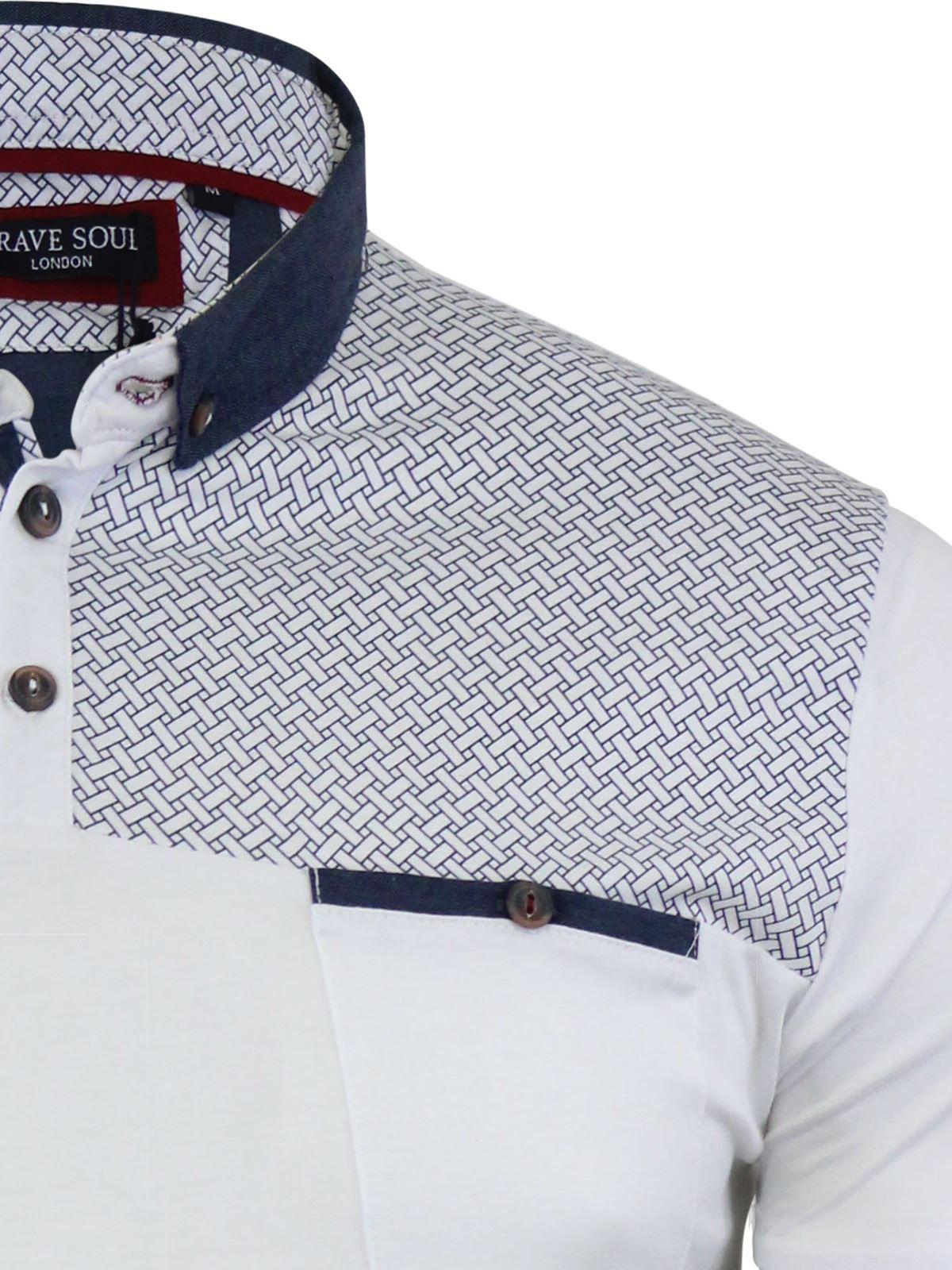 Mens-Polo-T-Shirt-Brave-Soul-Aqua-Printed-Short-Sleeve-Chambray-Collar-Top thumbnail 10