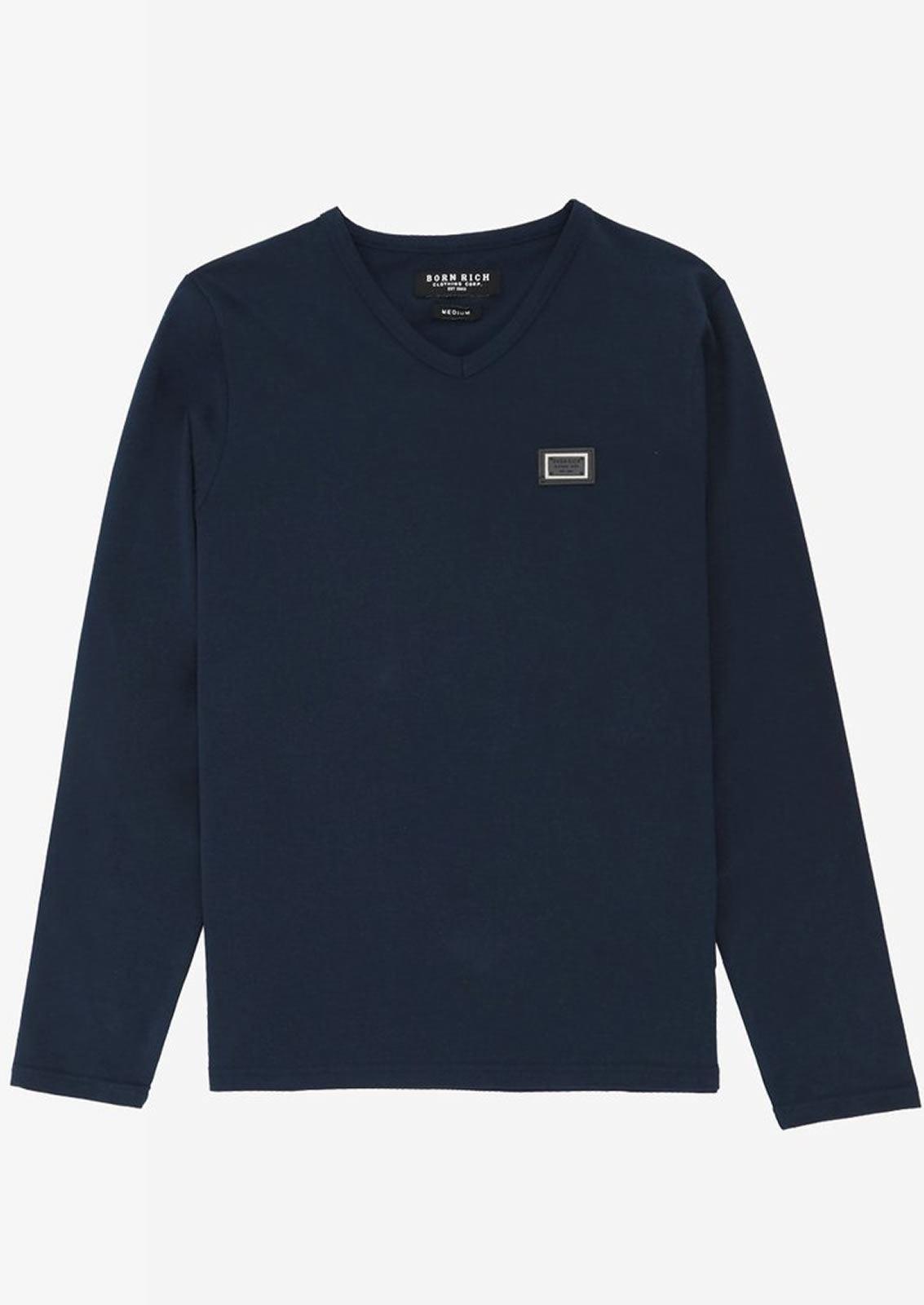 Ne-riche-par-l-039-argent-vetements-jaspe-sanguin-Hommes-T-Shirt-a-Manches-Longues-V-Neck-Tee miniature 13