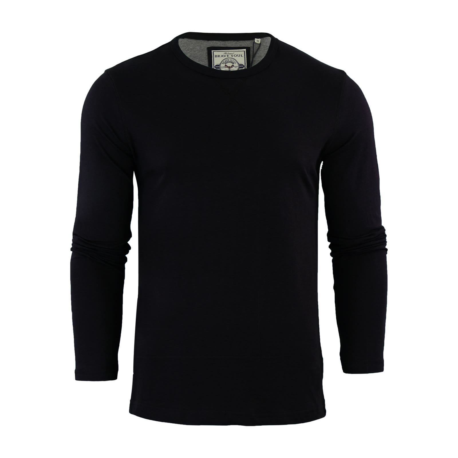 Brave-Soul-Prague-Mens-T-Shirt-by-Cotton-Long-Sleeved-Crew-Neck-Casual-Top thumbnail 5