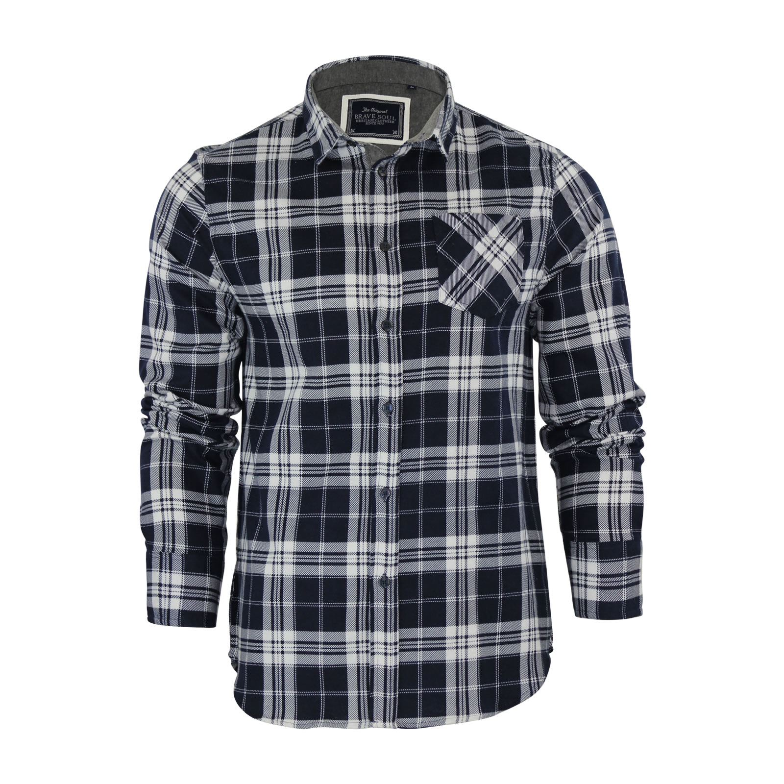 Brave-Soul-Mens-Check-Shirt-Flannel-Brushed-Cotton-Long-Sleeve-Casual-Top thumbnail 89