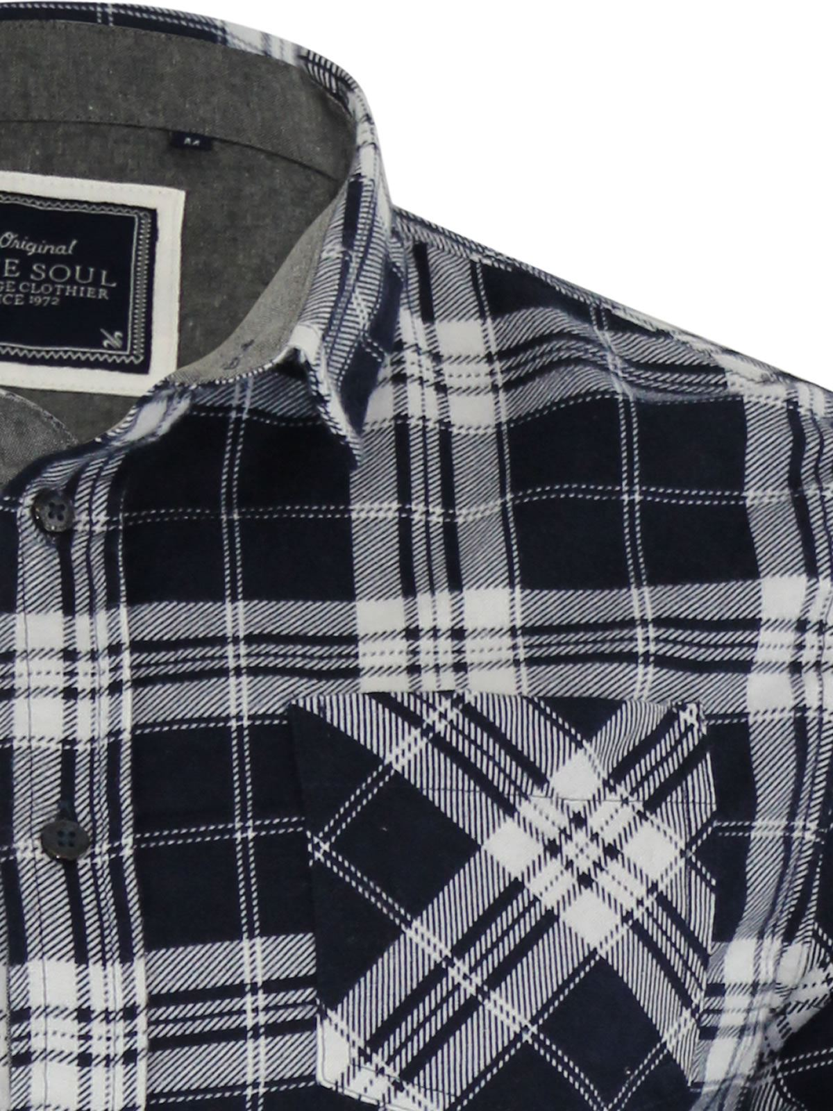Mens-Check-Shirt-Brave-Soul-Flannel-Brushed-Cotton-Long-Sleeve-Casual-Top thumbnail 31