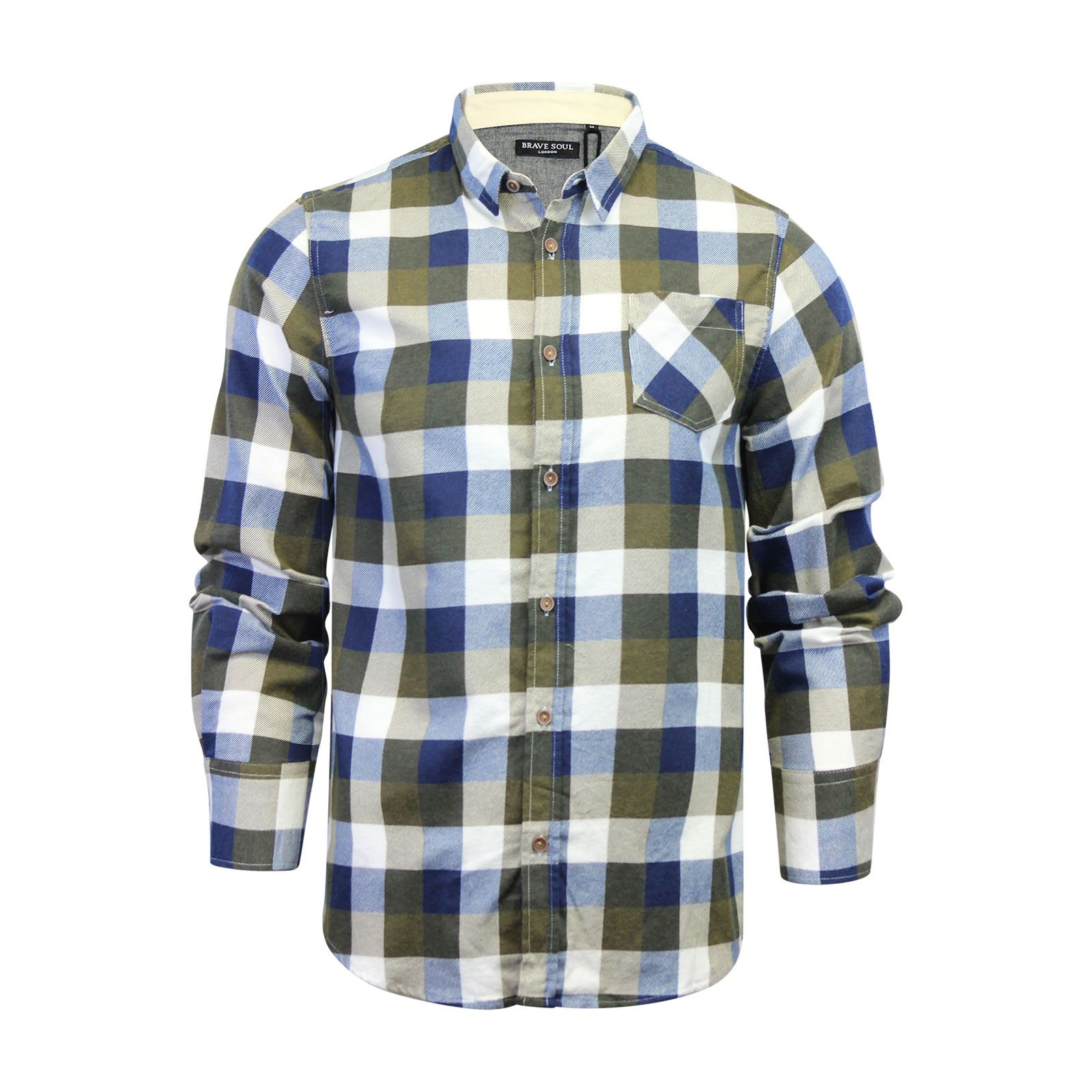 Brave-Soul-Mens-Check-Shirt-Flannel-Brushed-Cotton-Long-Sleeve-Casual-Top thumbnail 59
