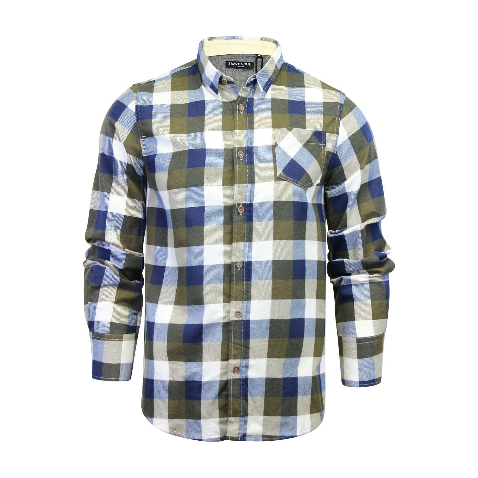 Alma-VALIENTE-HOMBRE-compruebe-Camisa-Algodon-Cepillado-De-Franela-Top-Manga-Larga-Casual miniatura 59
