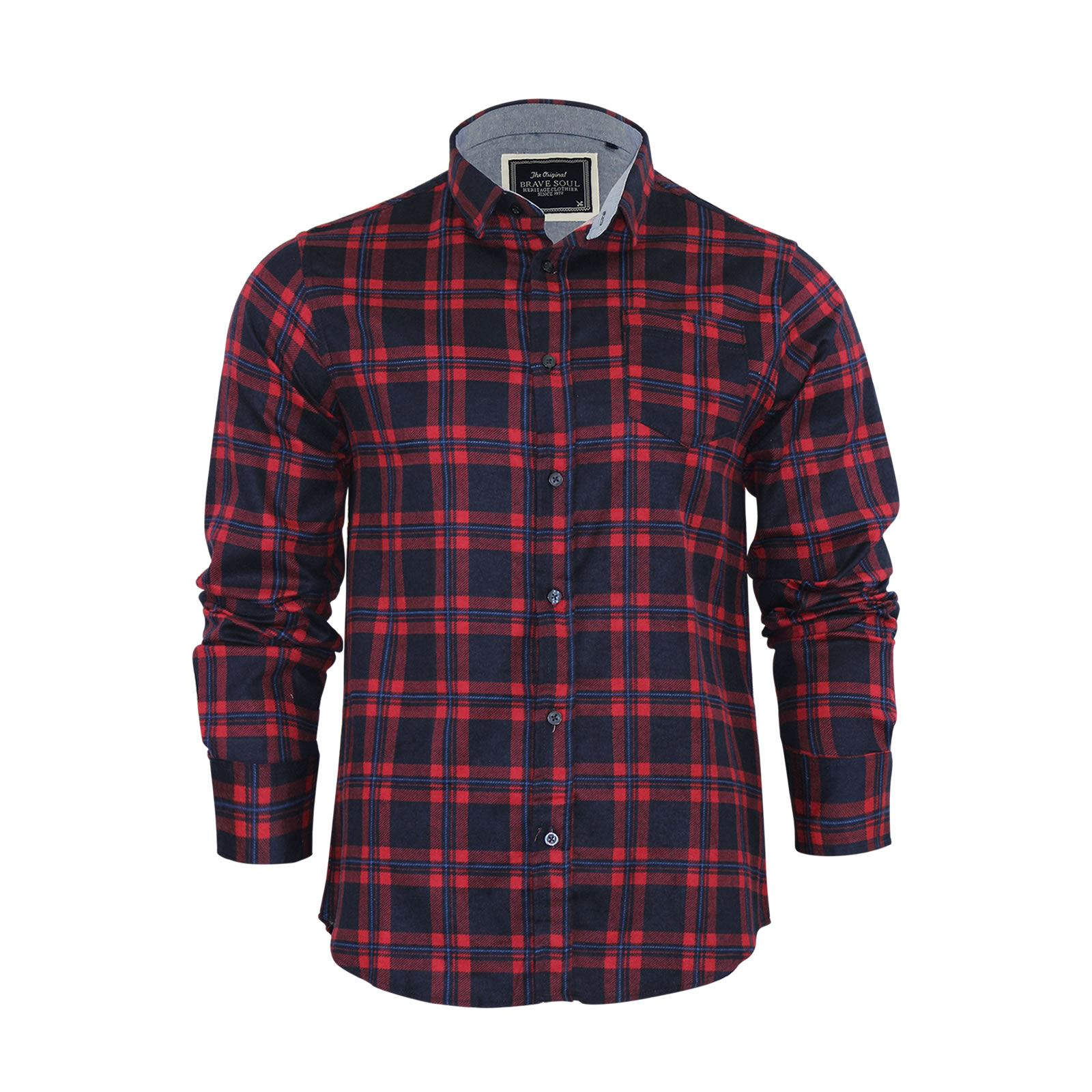 Brave-Soul-Mens-Check-Shirt-Flannel-Brushed-Cotton-Long-Sleeve-Casual-Top thumbnail 21