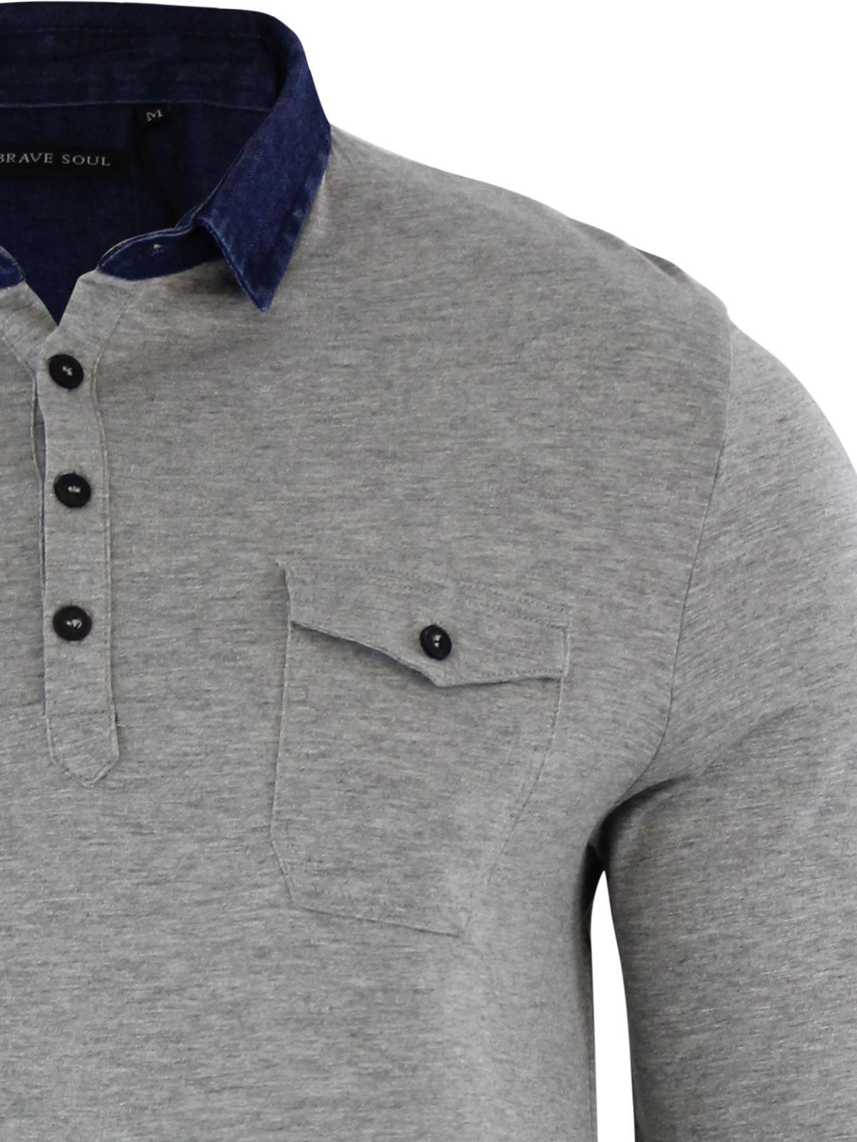 Brave-Soul-Gospel-Homme-Polo-T-Shirt-Denim-a-col-a-manches-longues-Top-Casual miniature 10