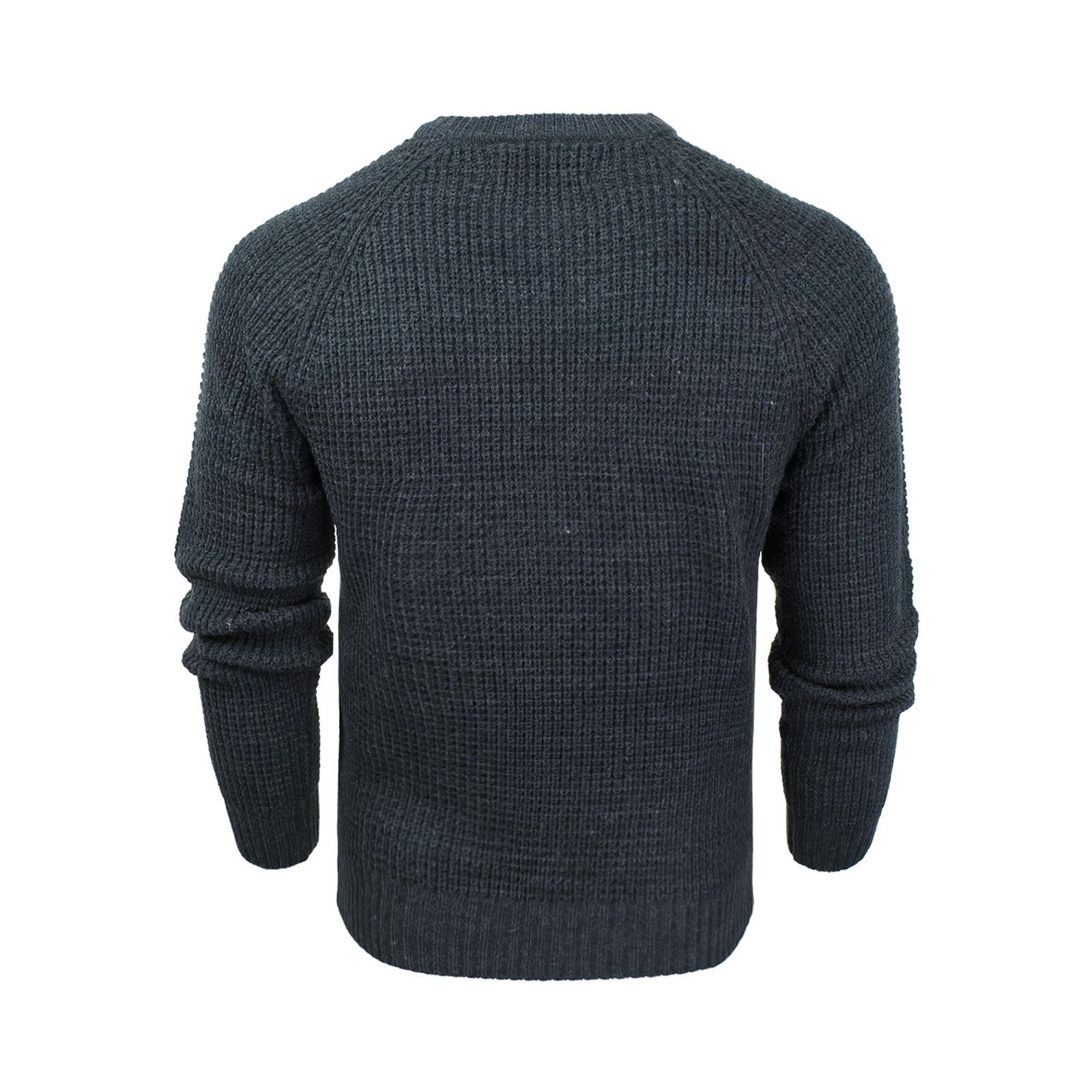 Mens-Jumper-Crosshatch-General-Waffle-Knitted-Crew-Neck-Wool-Mix-Sweater thumbnail 13