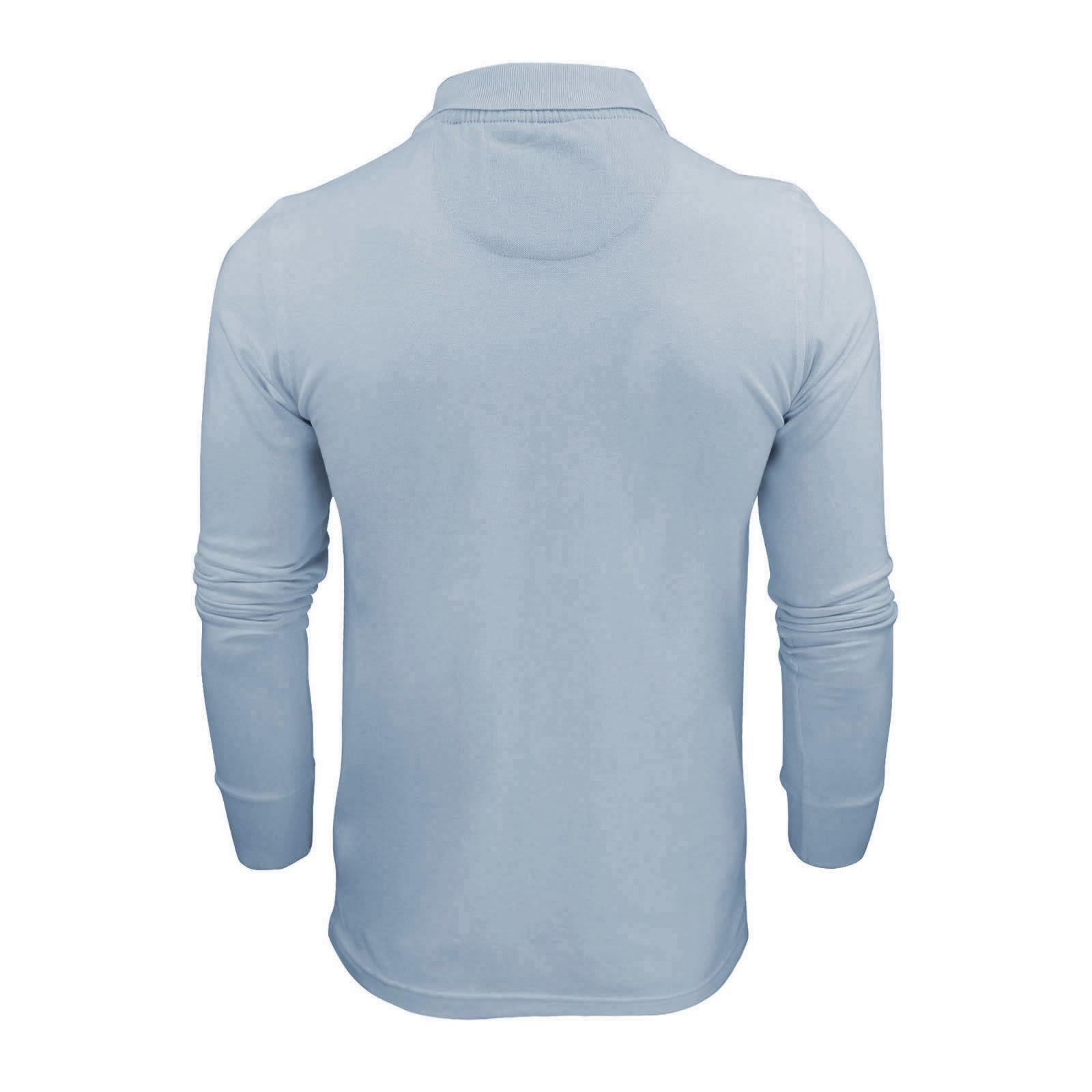 Homme-polo-t-shirt-brave-soul-lincoln-en-coton-a-manches-longues-pique-haut-decontracte miniature 35