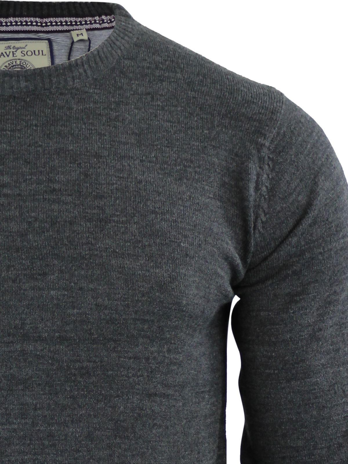 Brave-Soul-Urbain-Mens-Jumper-Knitted-Crew-Neck-Sweater thumbnail 35
