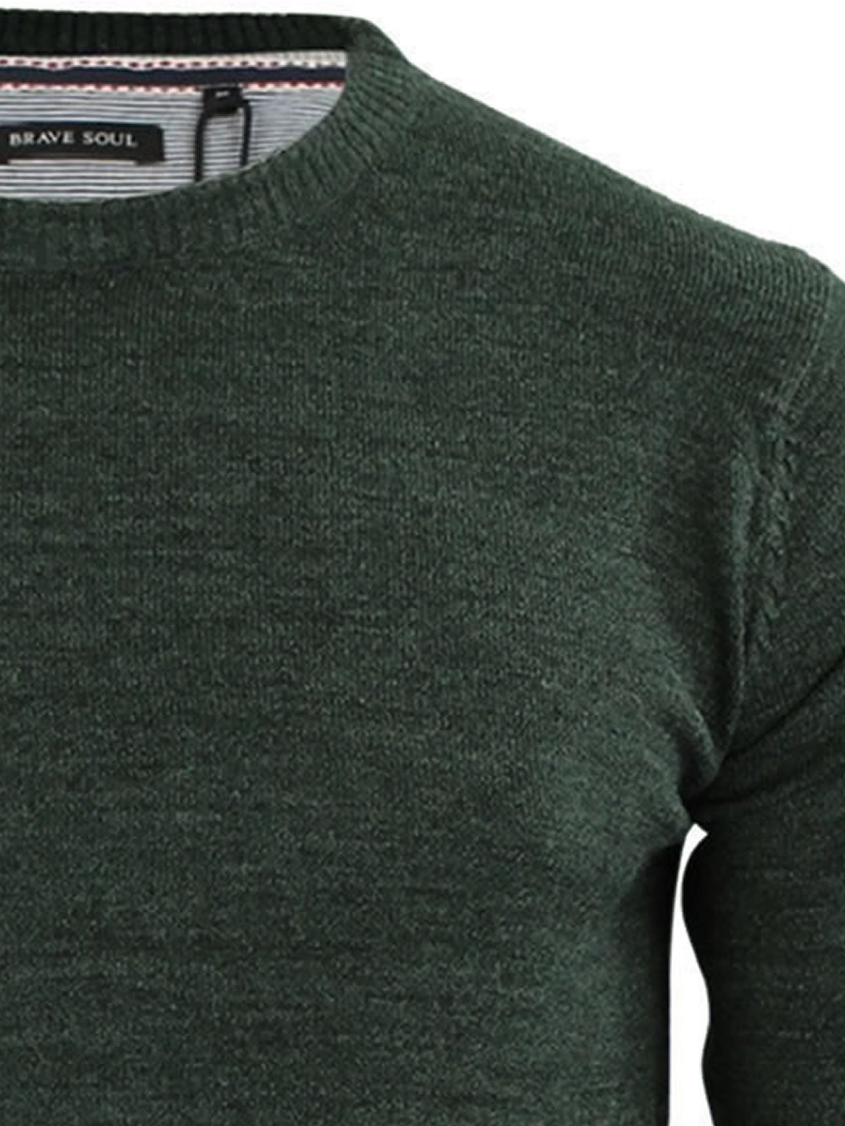 Brave-Soul-Urbain-Mens-Jumper-Knitted-Crew-Neck-Sweater thumbnail 21