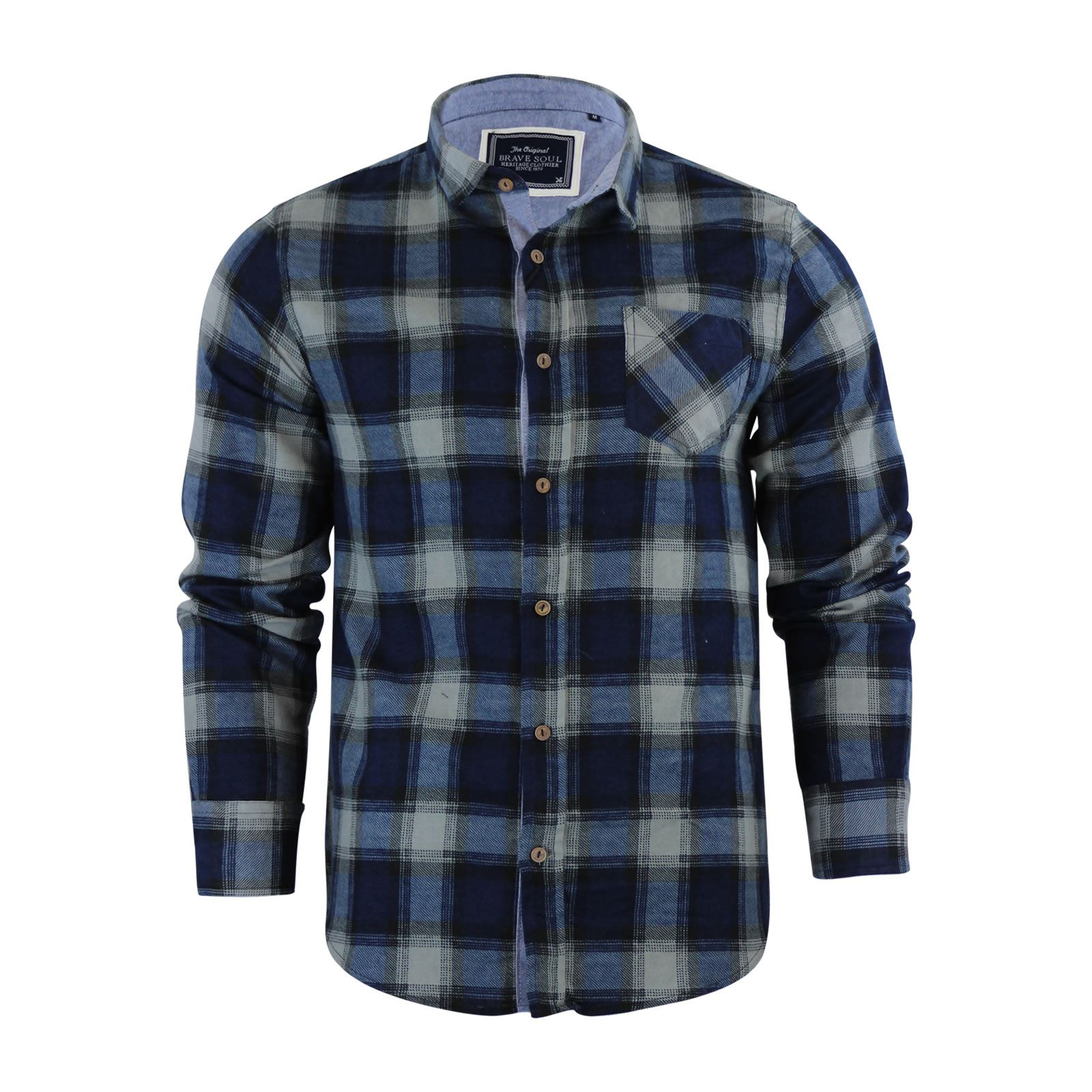Brave-Soul-Mens-Check-Shirt-Flannel-Brushed-Cotton-Long-Sleeve-Casual-Top thumbnail 35