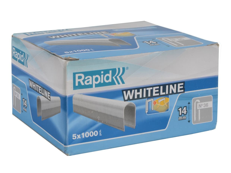 Rapid RPD3614W 36//14 14mm DP x 5m White Staples Box 5 x 1000