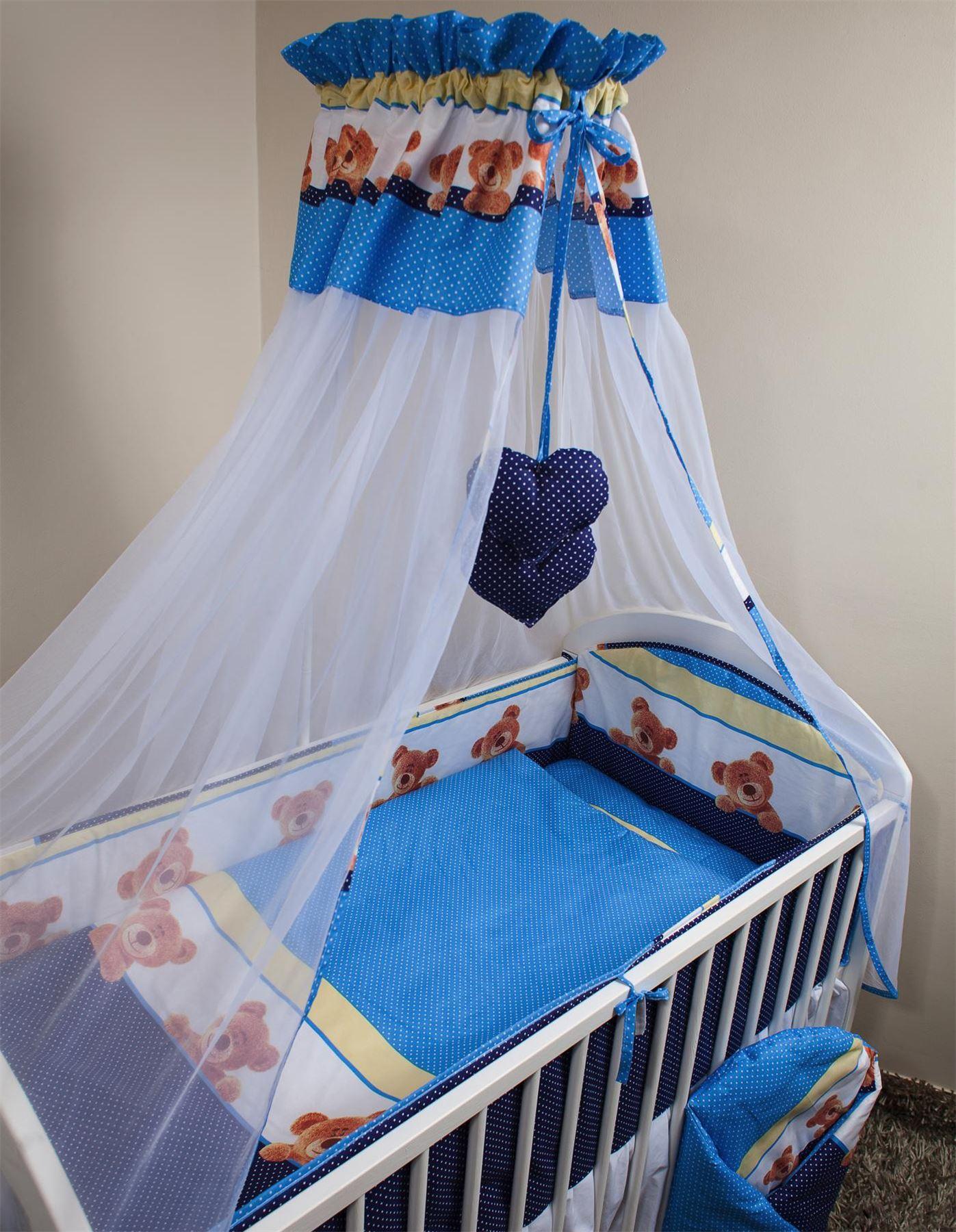 8 10 piece nursery cot bedding set pattern with canopy net bumper duvet cover ebay - Moskitonetz kinderzimmer ...