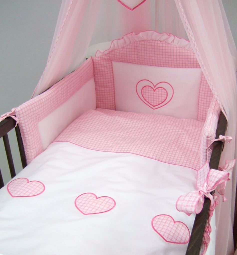 Hearts 11 Pcs Embroidered Baby Canopy Bedding Set For Cot// Cot Bed