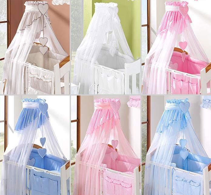 CROWN DRAPE CANOPY NETTING FITS CRIB CRADLE CHECK PATTERN