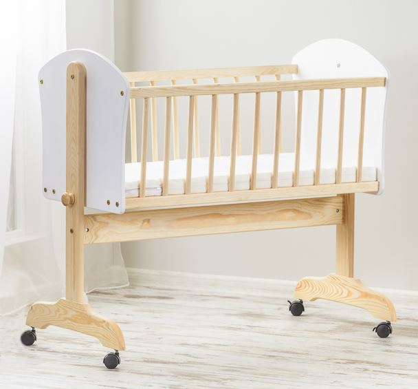 Baby Wooden Frame Swinging Crib 90x40 Cm Rocking Cradle