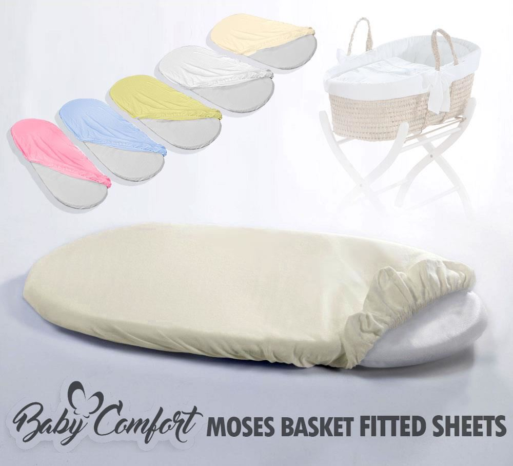 2x Moses Basket 100/% Cotton Fitted Sheet White