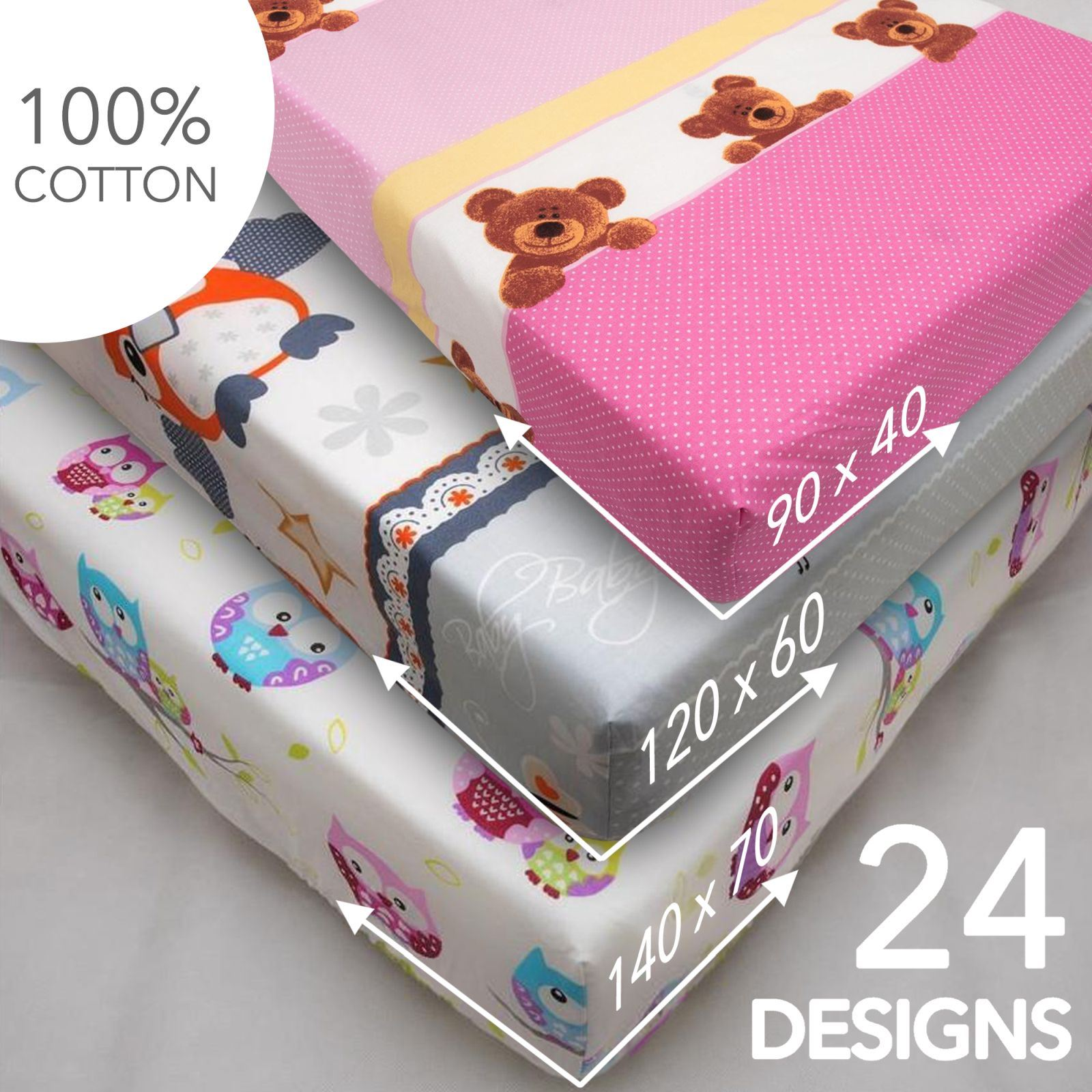 Baby Nursery Cotton Fitted Sheet/All Sizes/Crib Cot Bed ...