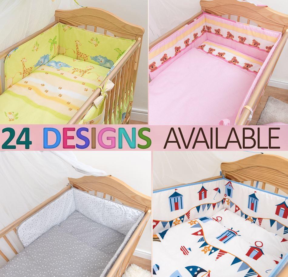 BABY BEDDING SET 2 PC 3 4 5 6 PIECES PILLOW DUVET COVER BUMPER FOR COT 140x70 UK