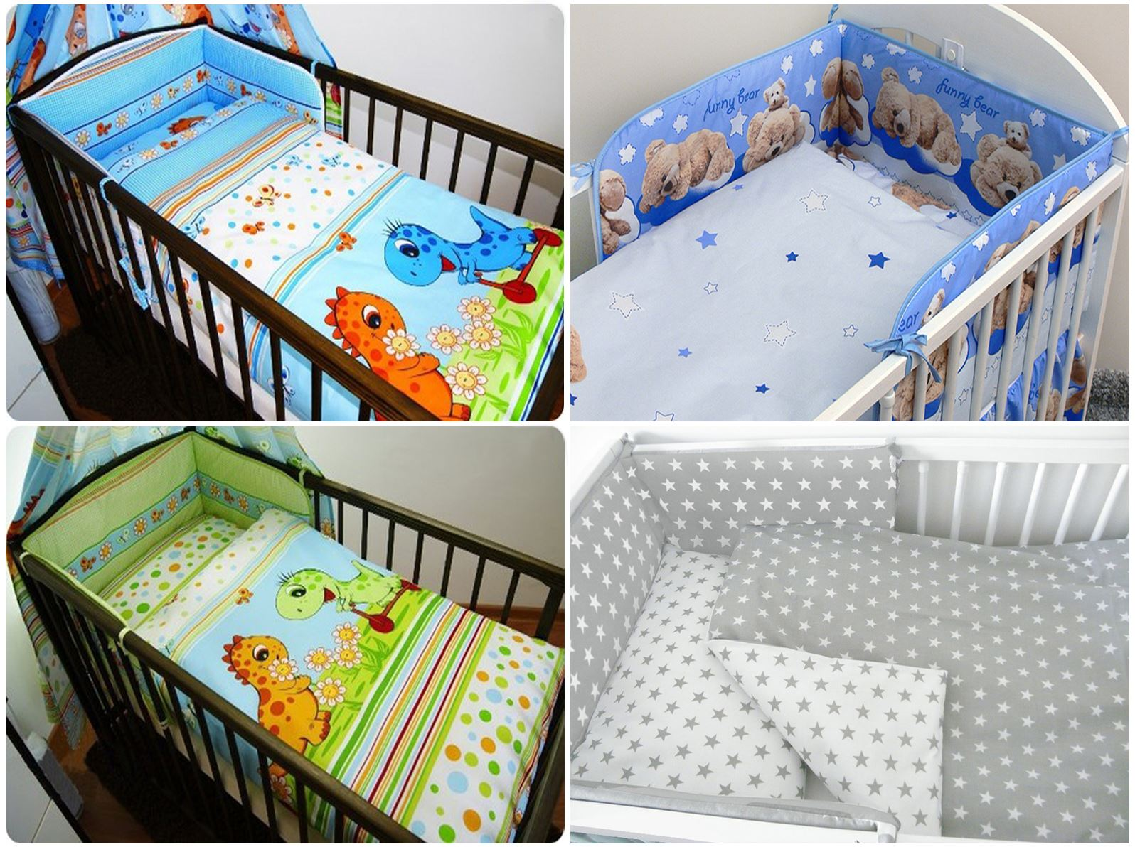 PILLOW-QUILT COVER to fit COT 3 PIECES NURSERY BABY BEDDING SET BUMPER