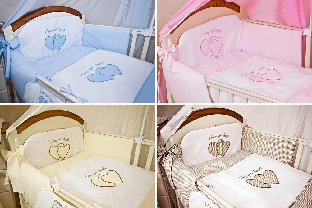 Sheet Set For Cot Cot Bed Hearts 6 Piece pcs Embroidered Baby Bedding
