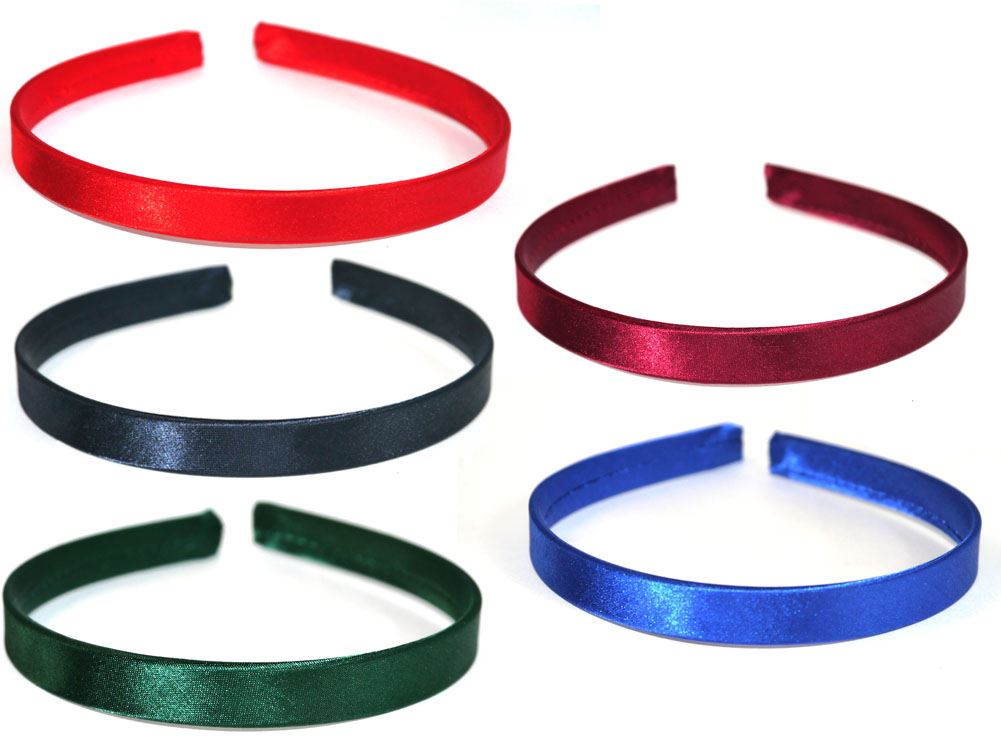 Card of 2 Satin Alice Bands Headbands Hairbands 1cm Wide School Various Colours