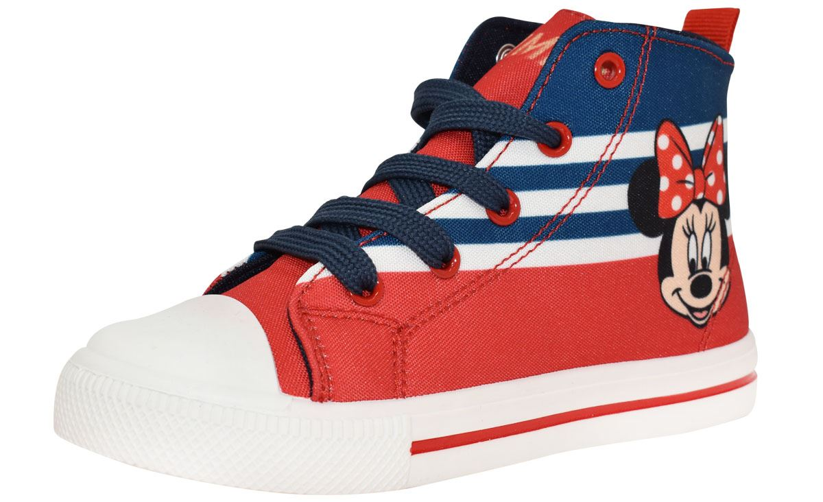 768152ed5ec Girls Disney Minnie Mouse Red Canvas Hi Top Trainers Sport Shoe Size ...